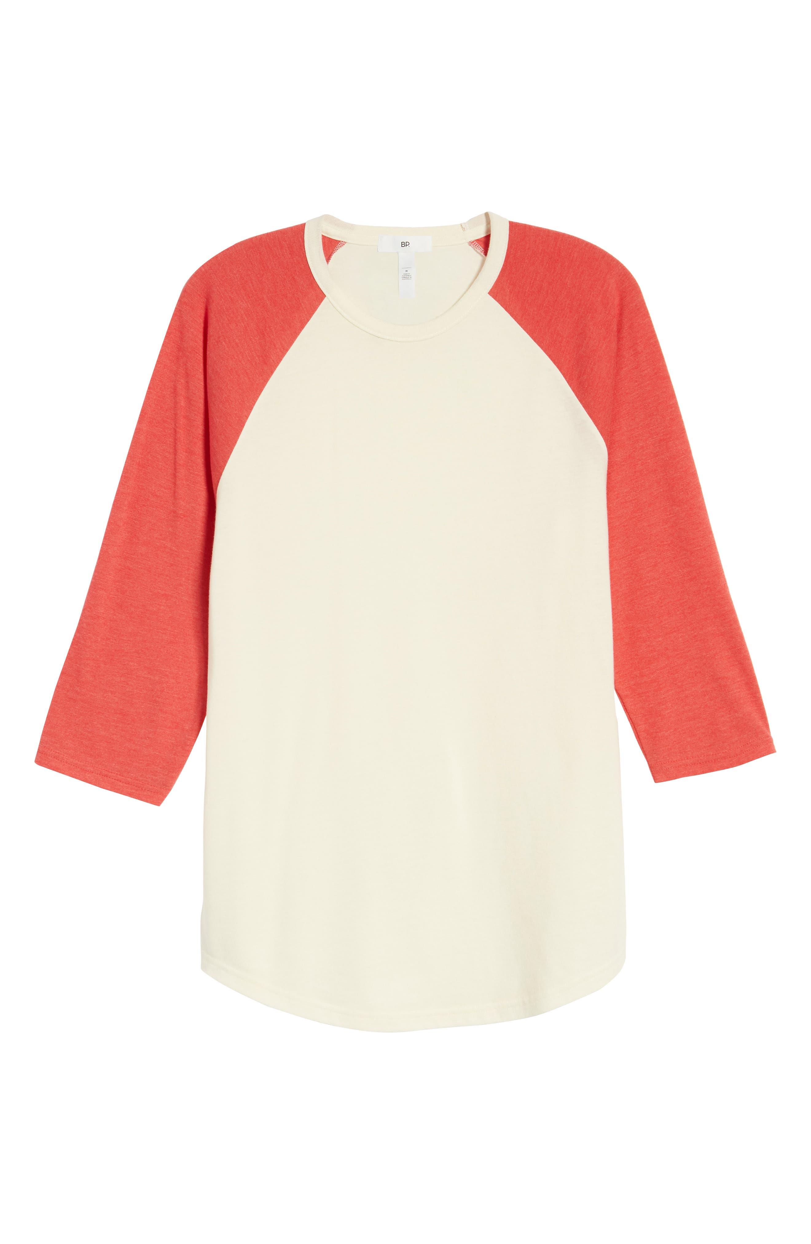 Baseball T-Shirt,                             Alternate thumbnail 6, color,                             IVORY EGRET-RED SAUCY