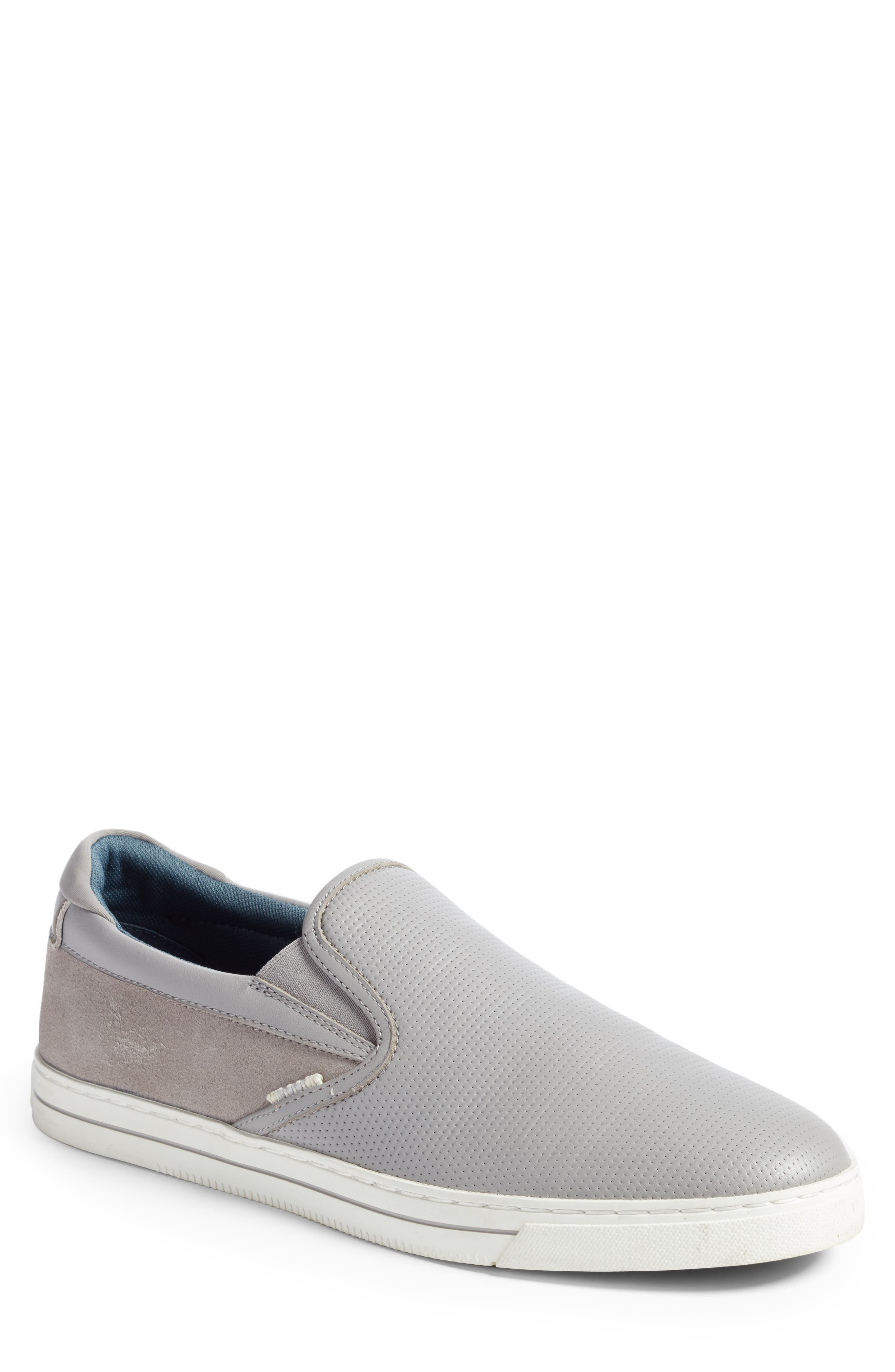 Patroy Perforated Slip-On Sneaker,                             Main thumbnail 1, color,                             LIGHT GREY LEATHER