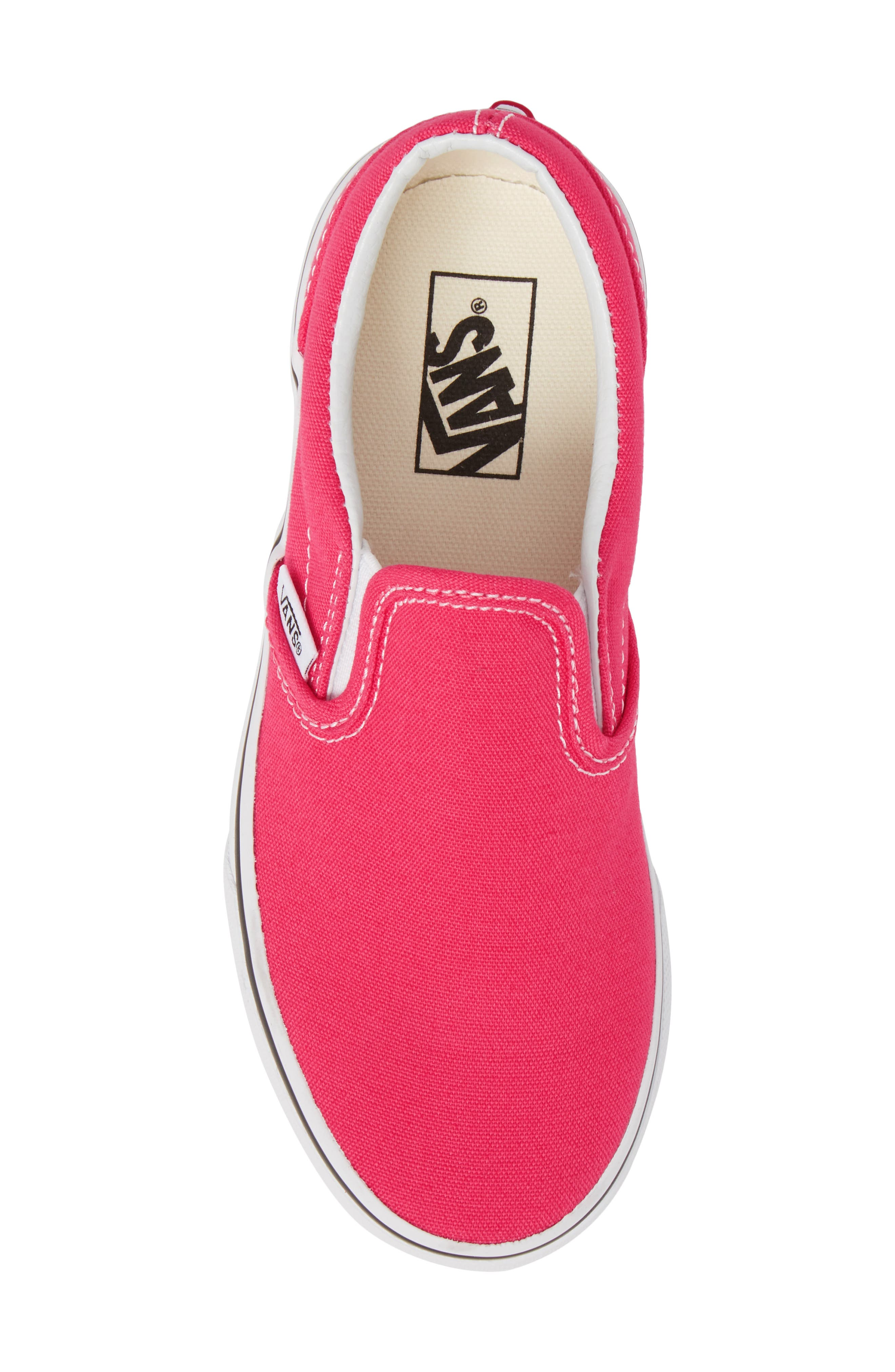 'Classic' Slip-On,                             Alternate thumbnail 5, color,                             AZALEA/ TRUE WHITE