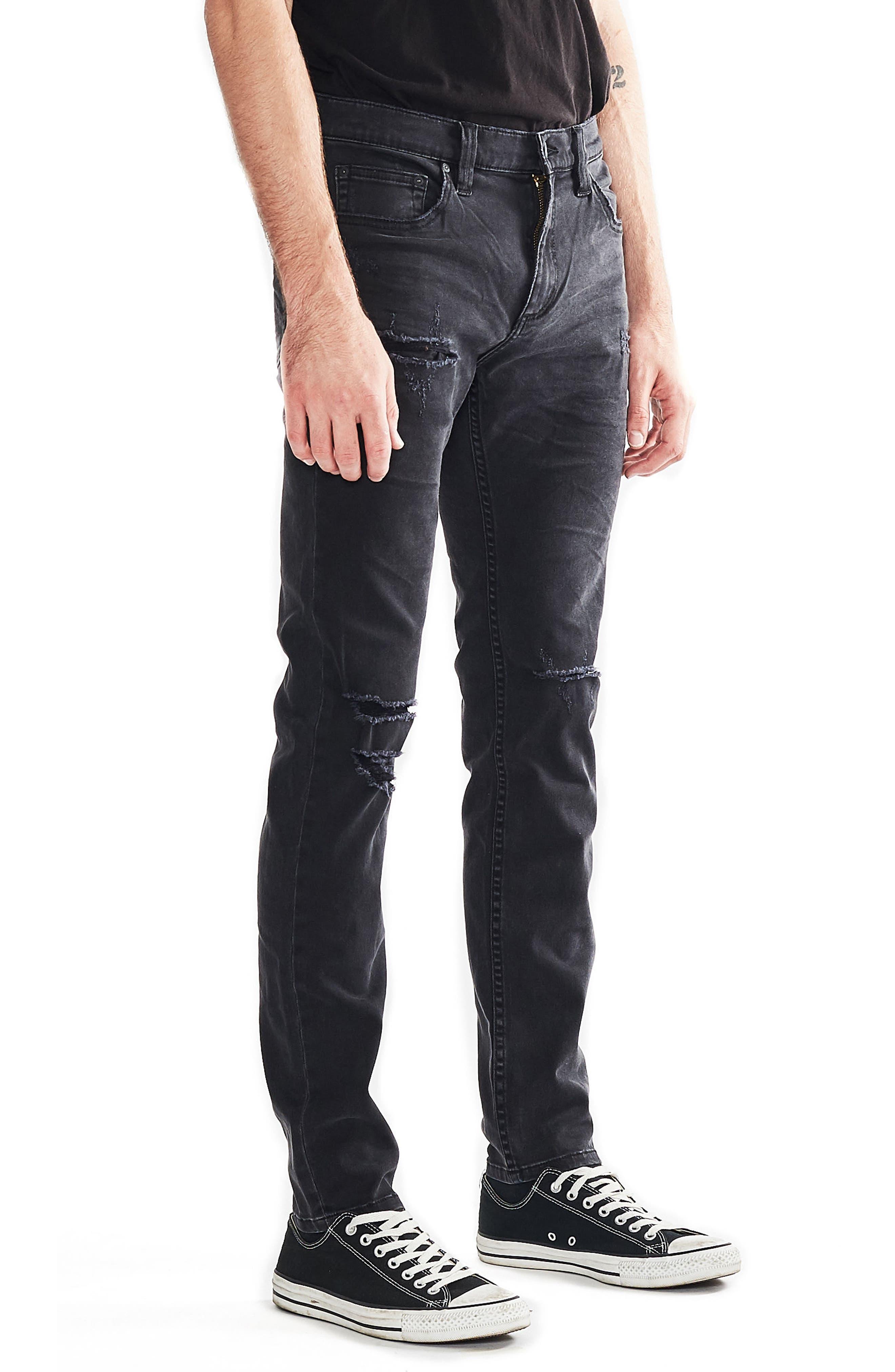 Stinger Skinny Fit Jeans,                             Alternate thumbnail 3, color,                             BLOWOUT BLACK