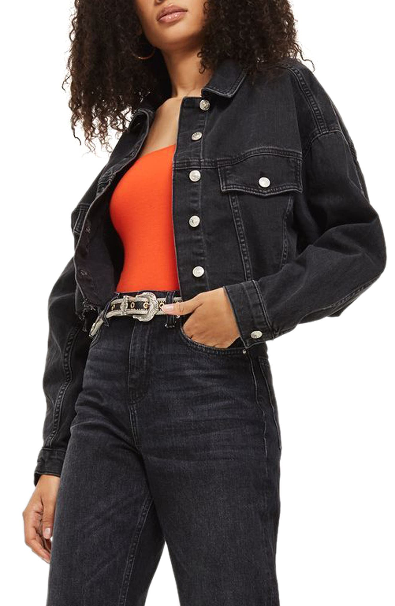 TOPSHOP,                             Raw Edge Crop Denim Jacket,                             Main thumbnail 1, color,                             001