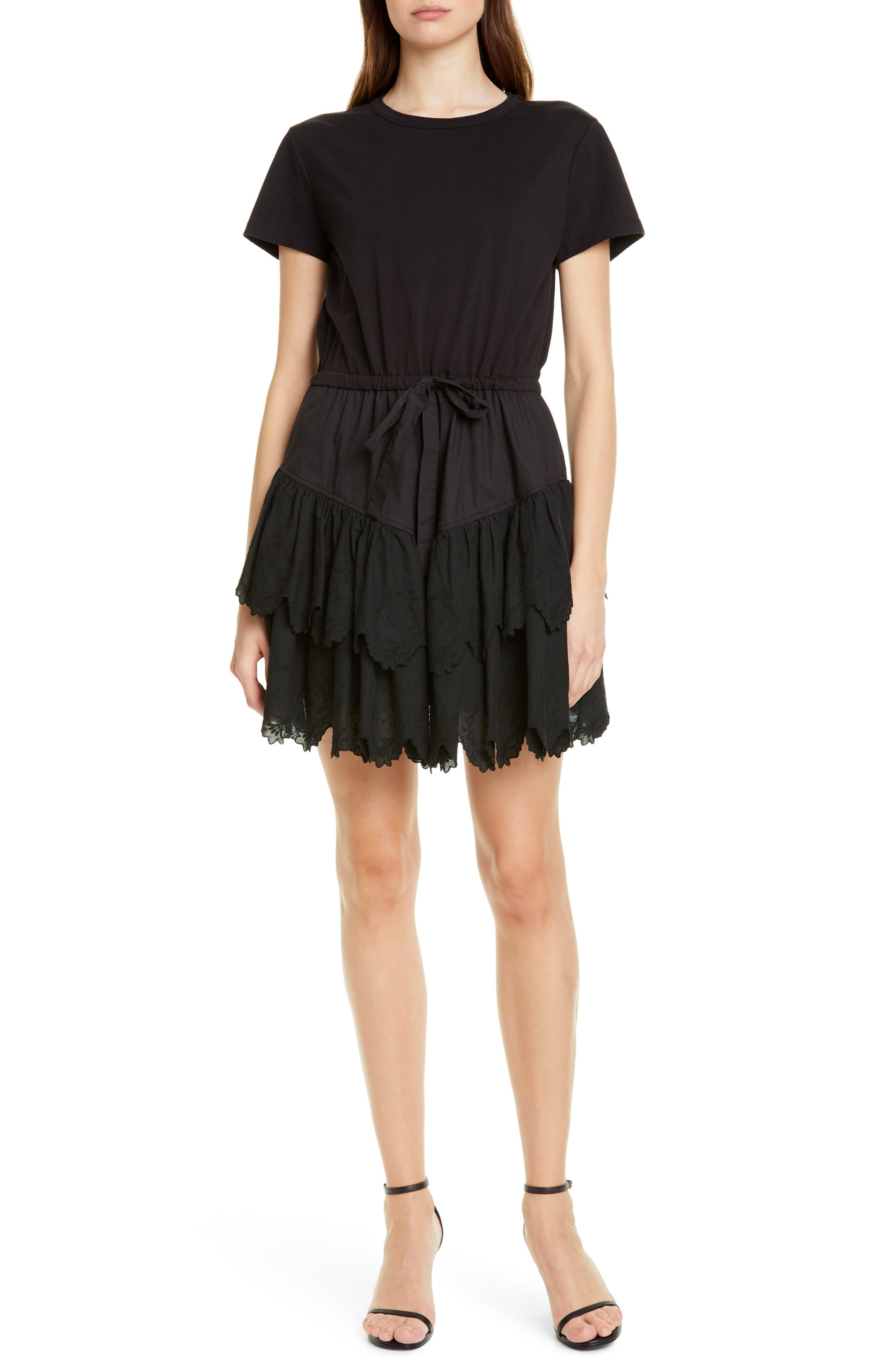La Vie Rebecca Taylor Lace Detail Tiered Cotton Minidress, Black