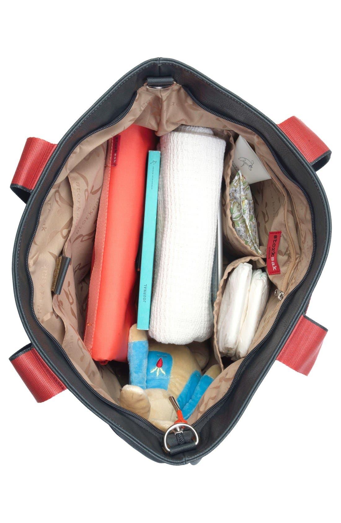 'Eden' Faux Leather Diaper Bag,                             Alternate thumbnail 3, color,                             GREY