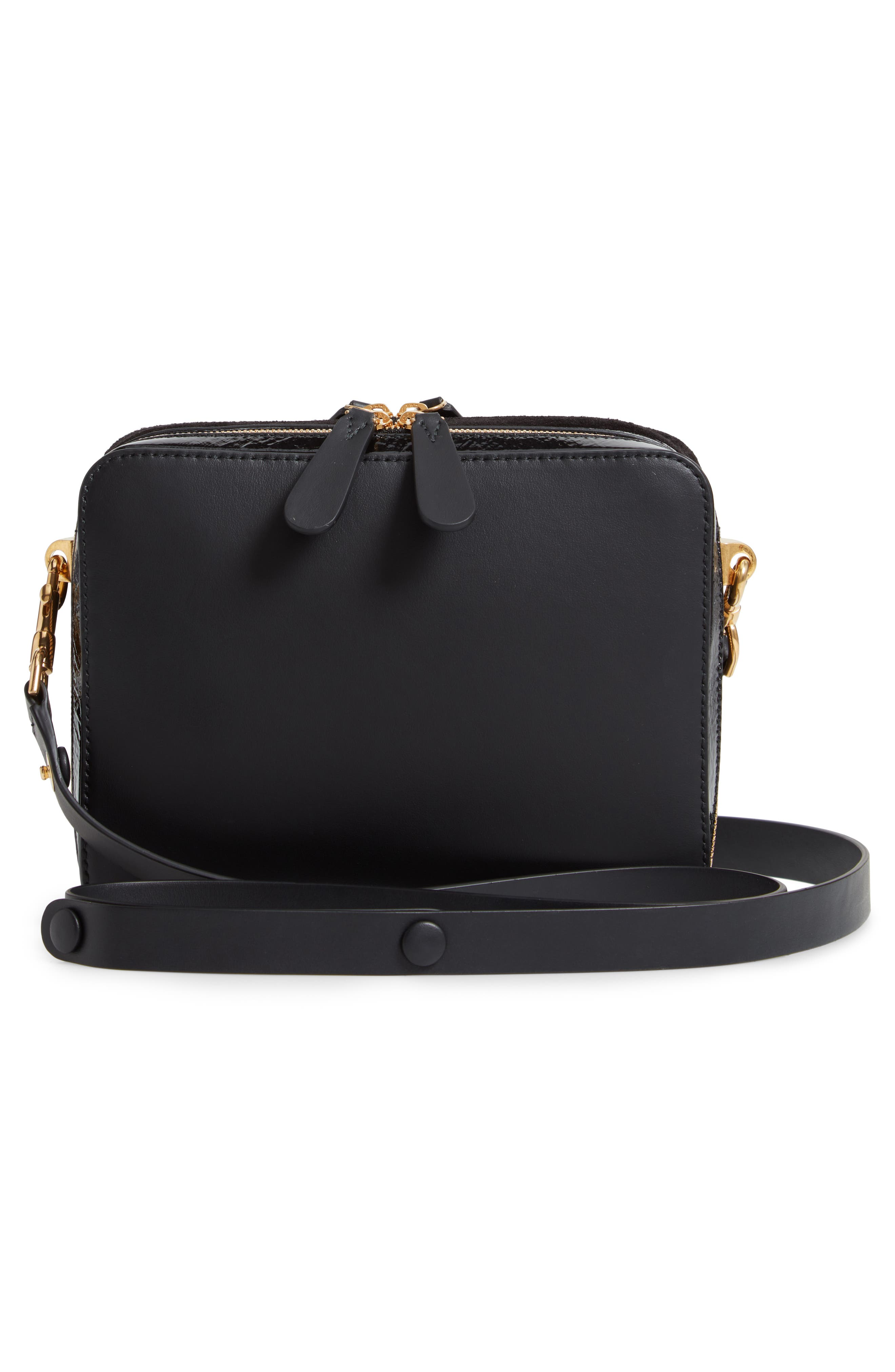 The Double Stack Leather Crossbody Bag,                             Alternate thumbnail 3, color,                             001