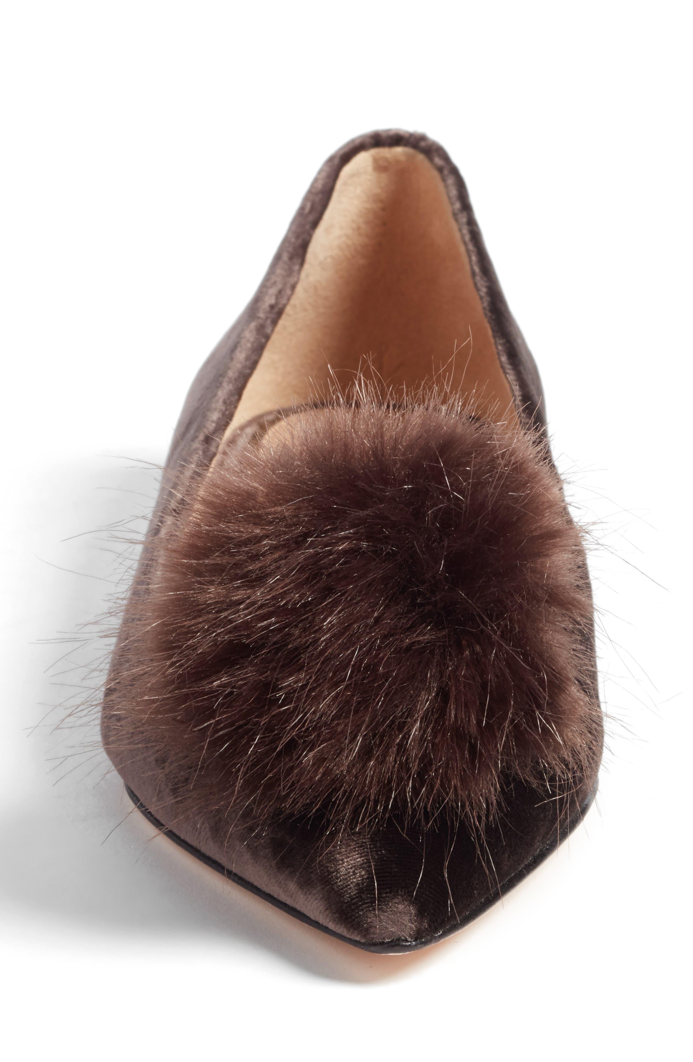 Raddie Faux Fur Pompom Flat,                             Alternate thumbnail 4, color,                             020