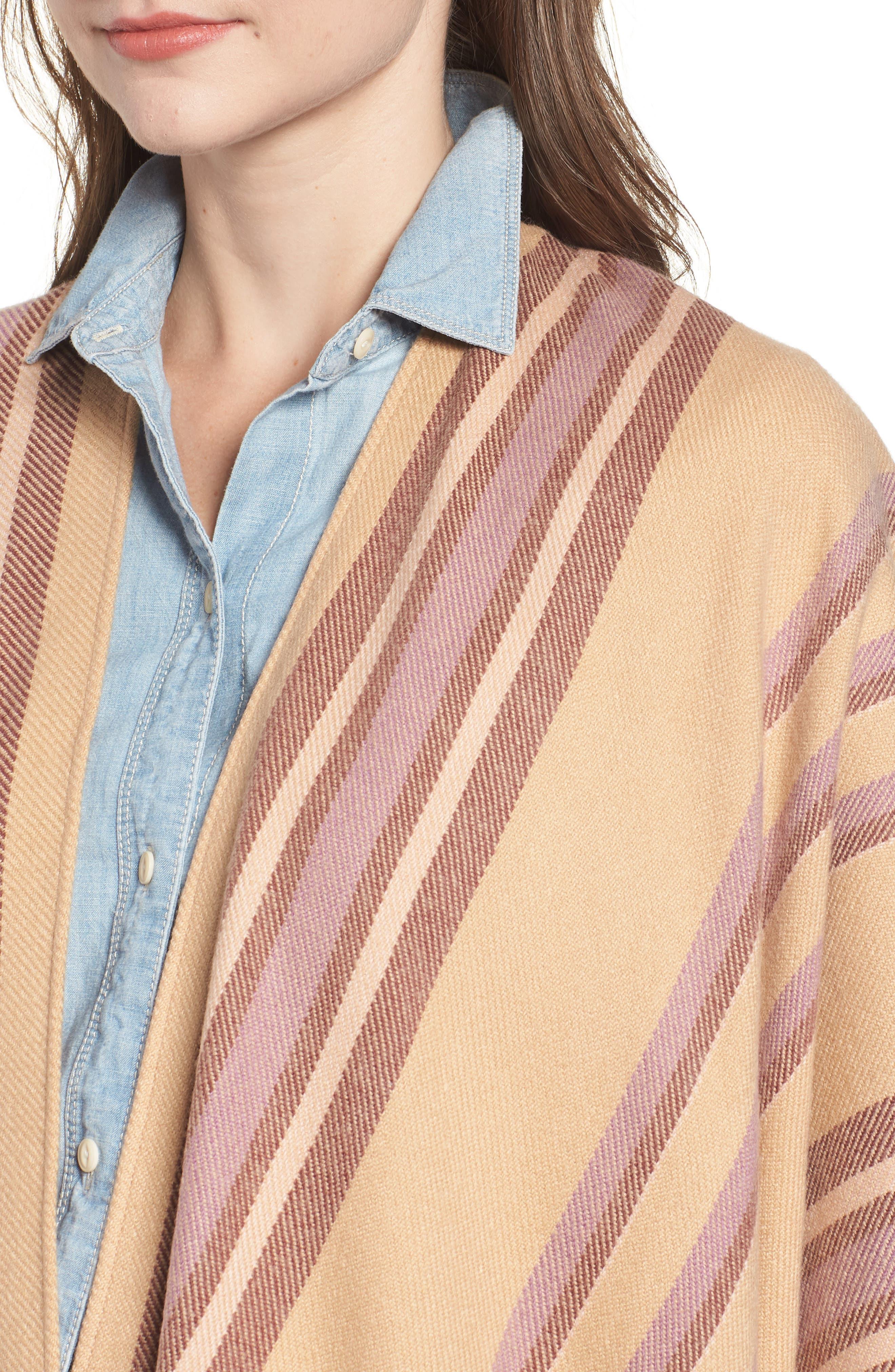 Placed Stripe Poncho Scarf,                             Alternate thumbnail 4, color,                             DESERT CAMEL MULTI