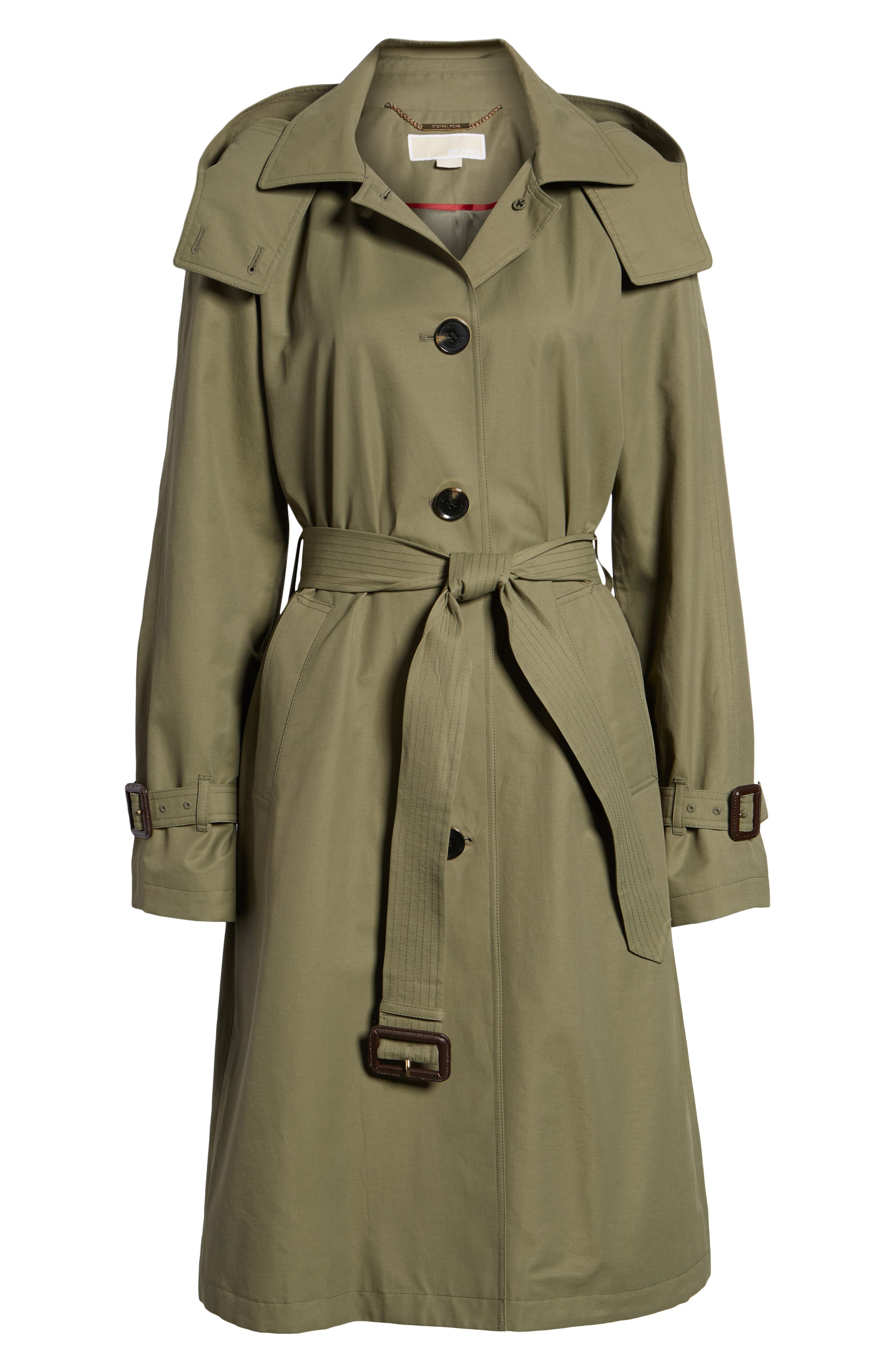 Hooded Trench Coat,                             Alternate thumbnail 5, color,                             ARMY