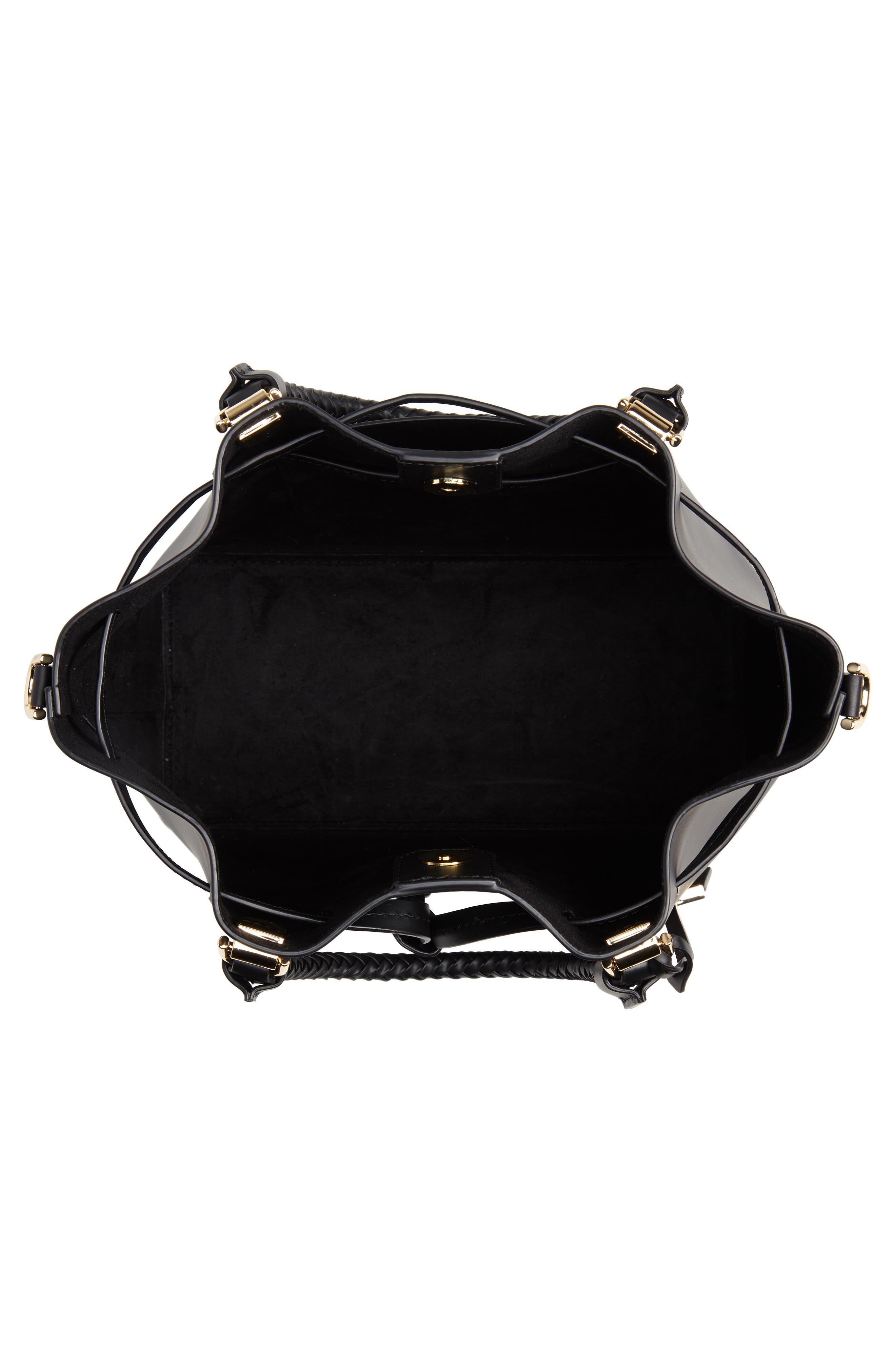 Blakely Leather Bucket Bag,                             Alternate thumbnail 4, color,                             BLACK