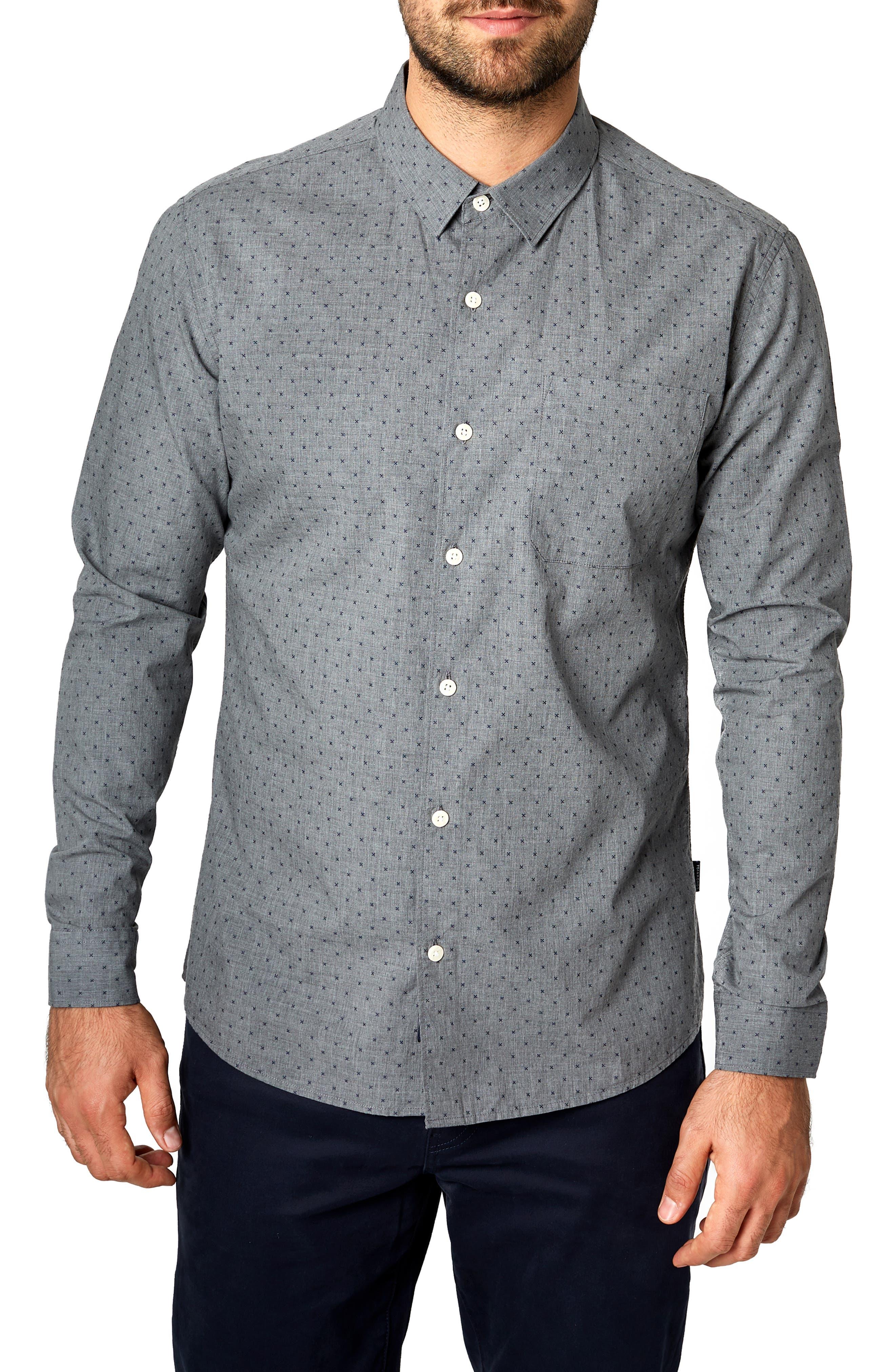 Rite of Passage Trim Fit Sport Shirt,                         Main,                         color, NAVY