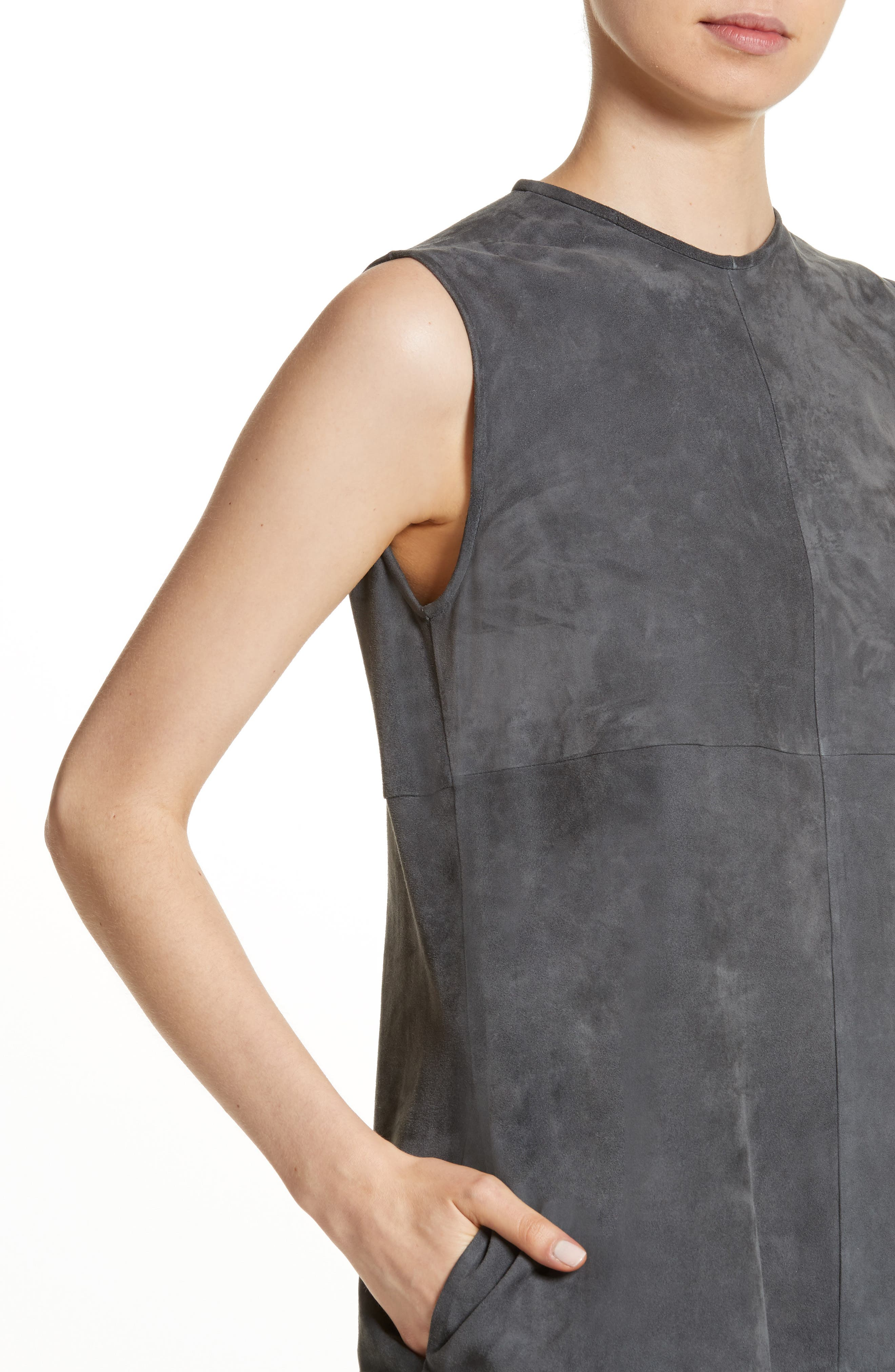 Suede & Crinkled Leather Dress,                             Alternate thumbnail 4, color,