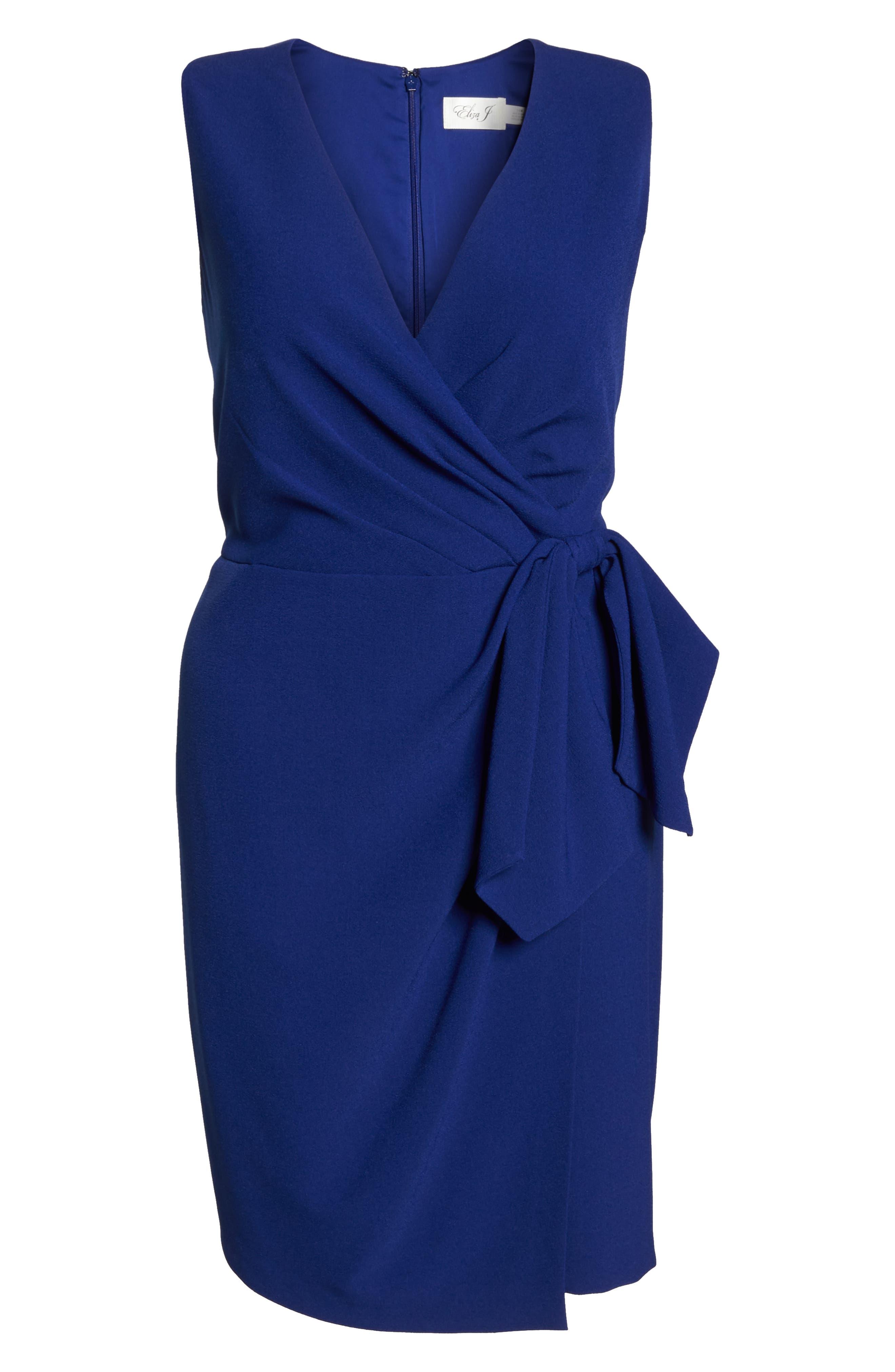 Faux Wrap Dress,                             Alternate thumbnail 7, color,                             COBALT