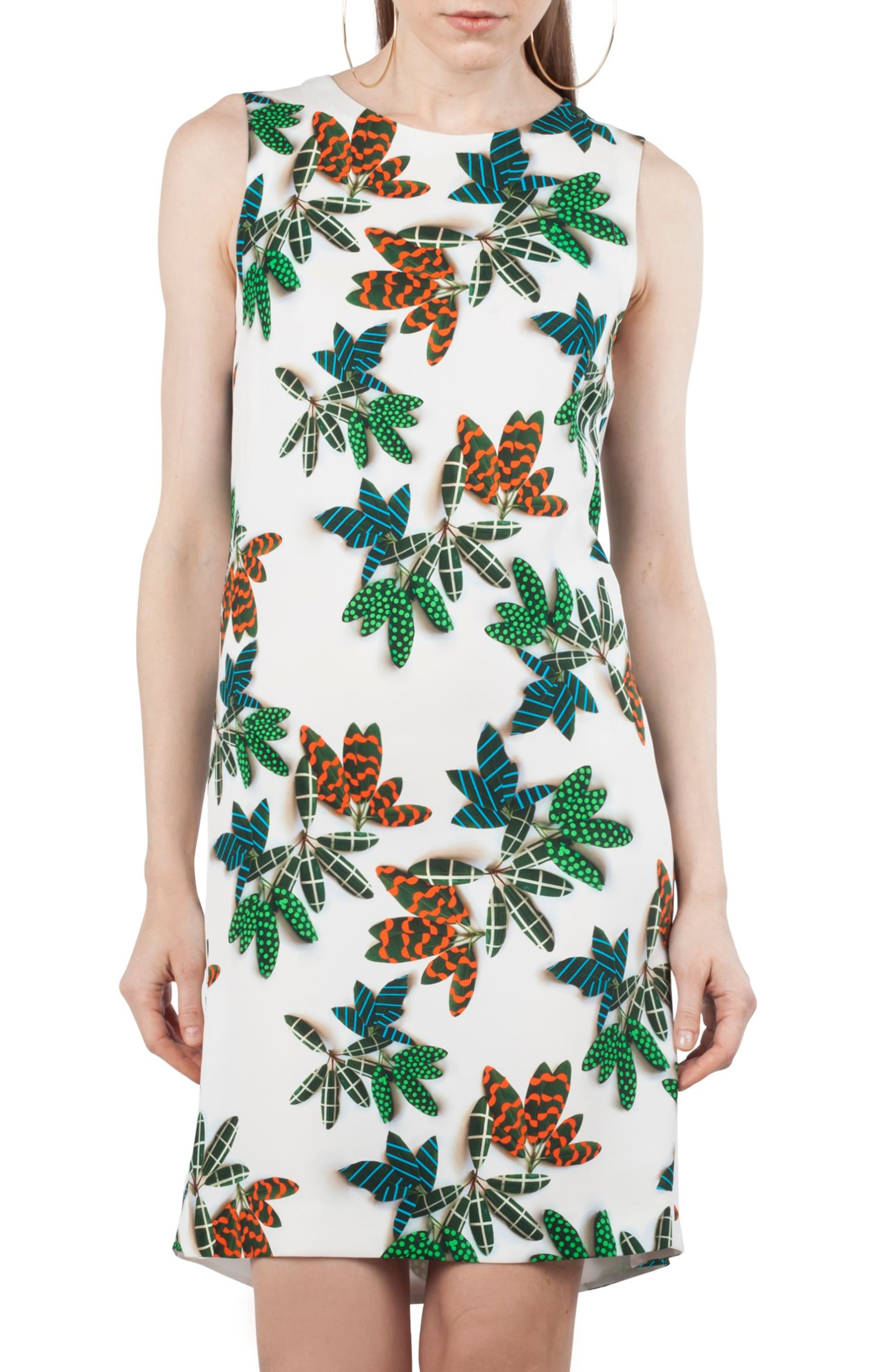 Tropical Print Shift Dress,                             Alternate thumbnail 3, color,                             115
