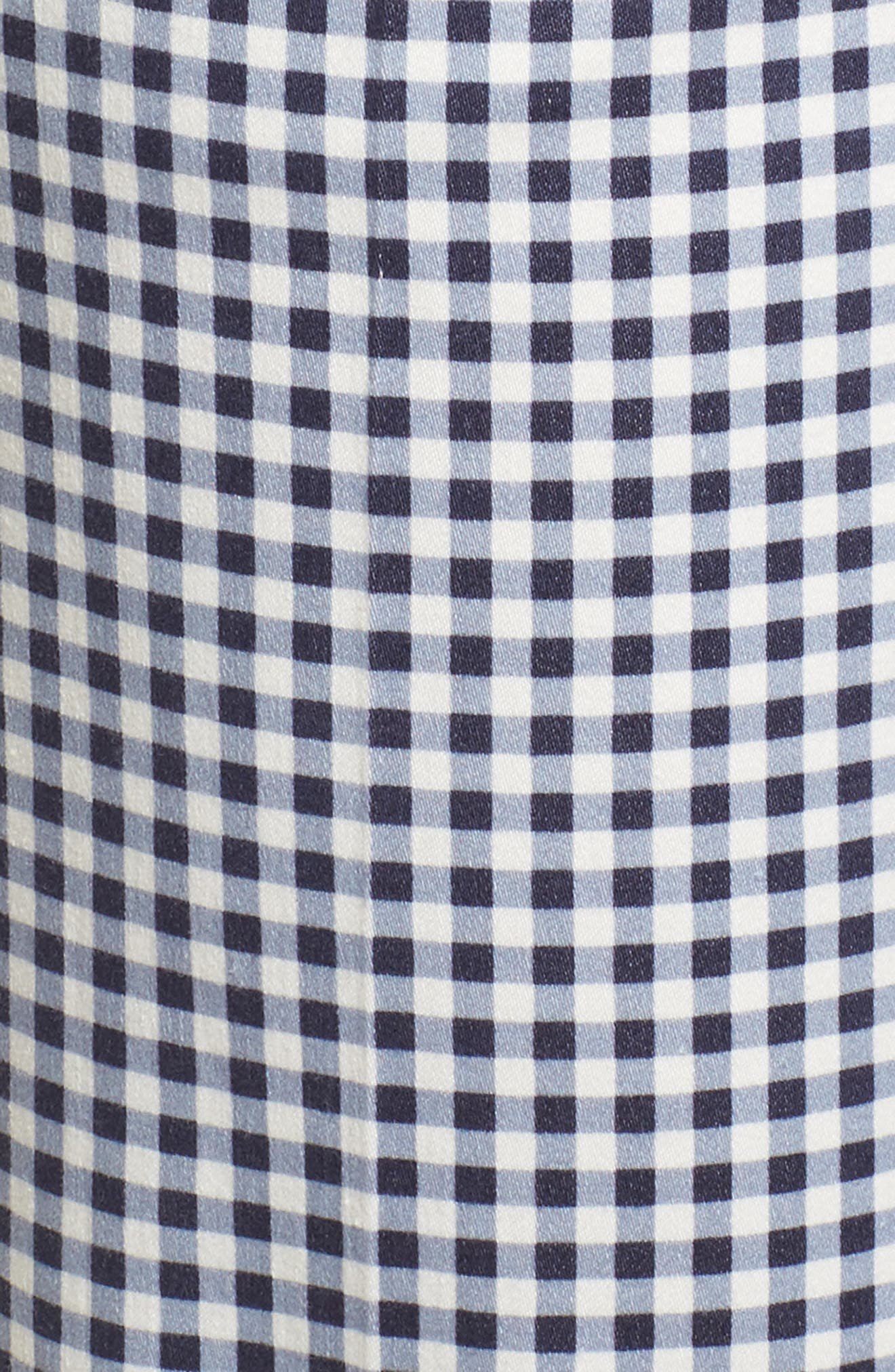 Maron Gingham Stretch Cotton Pants,                             Alternate thumbnail 5, color,                             OCEAN