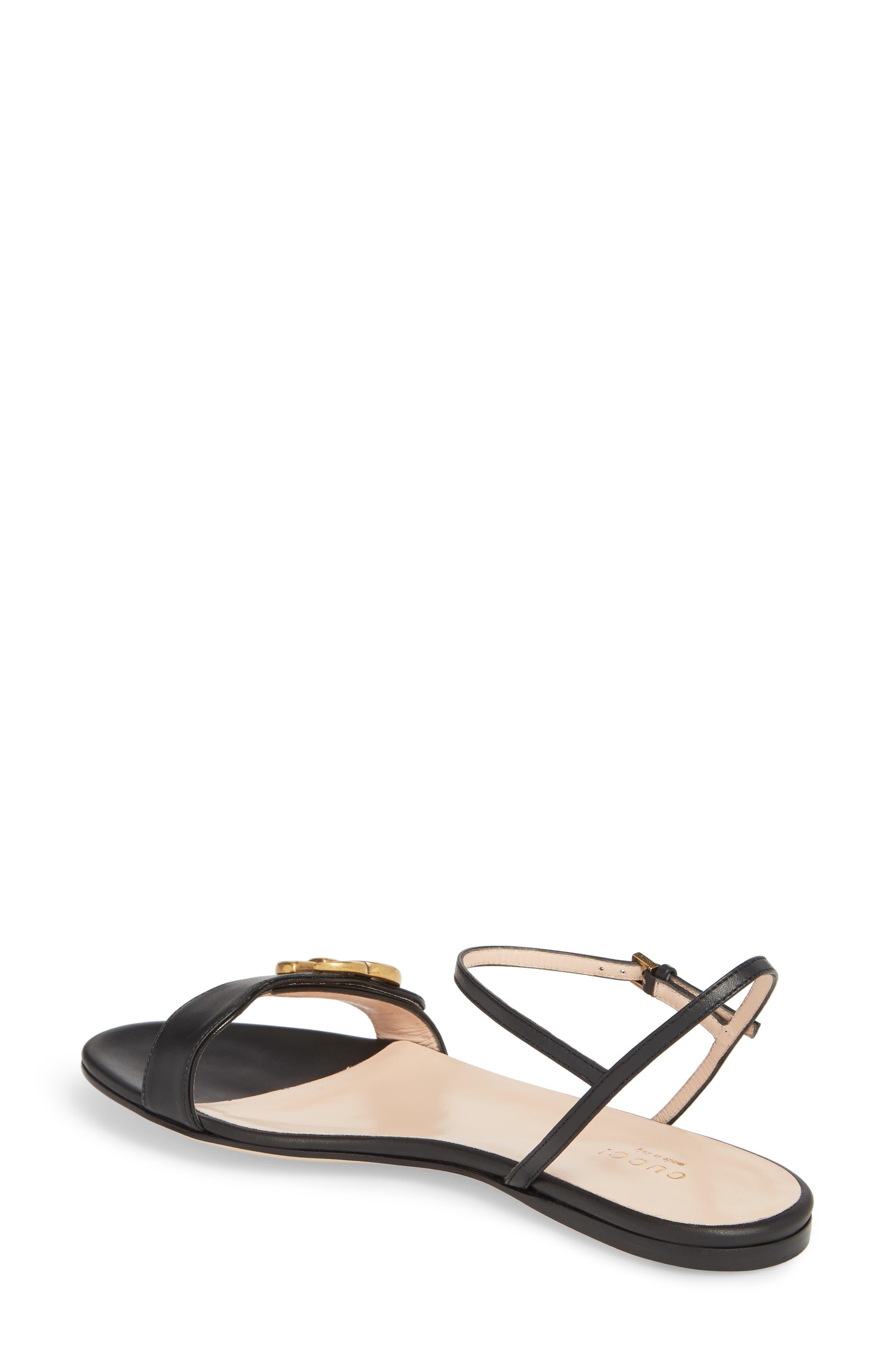 Quarter Strap Flat Sandal,                             Alternate thumbnail 2, color,                             BLACK