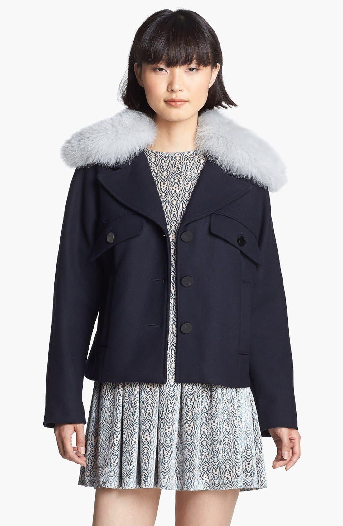 Wool Coat with Genuine Fox Fur Trim,                         Main,                         color, 410