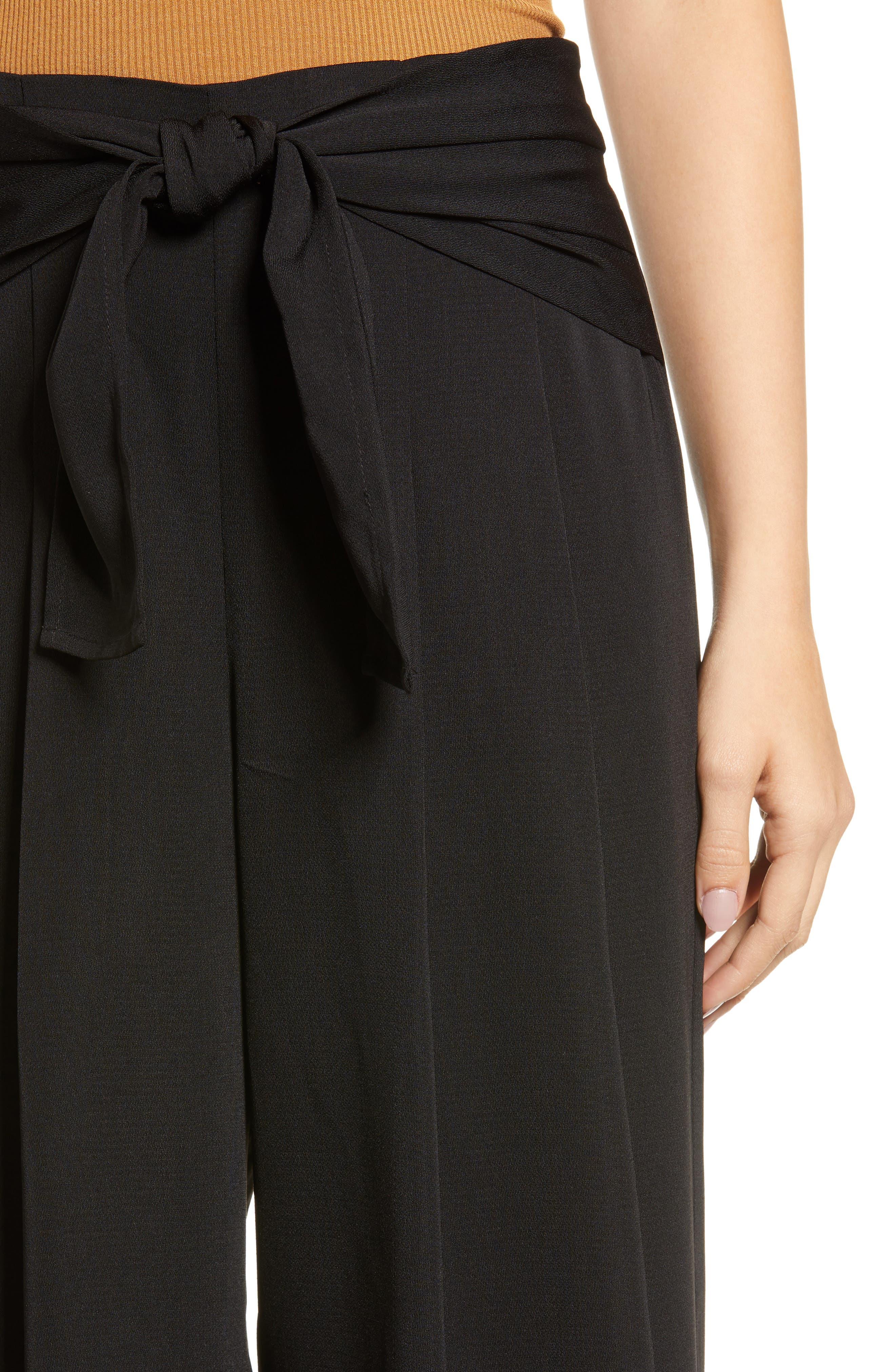 Tie Waist Wide Leg Pants,                             Alternate thumbnail 4, color,                             BLACK