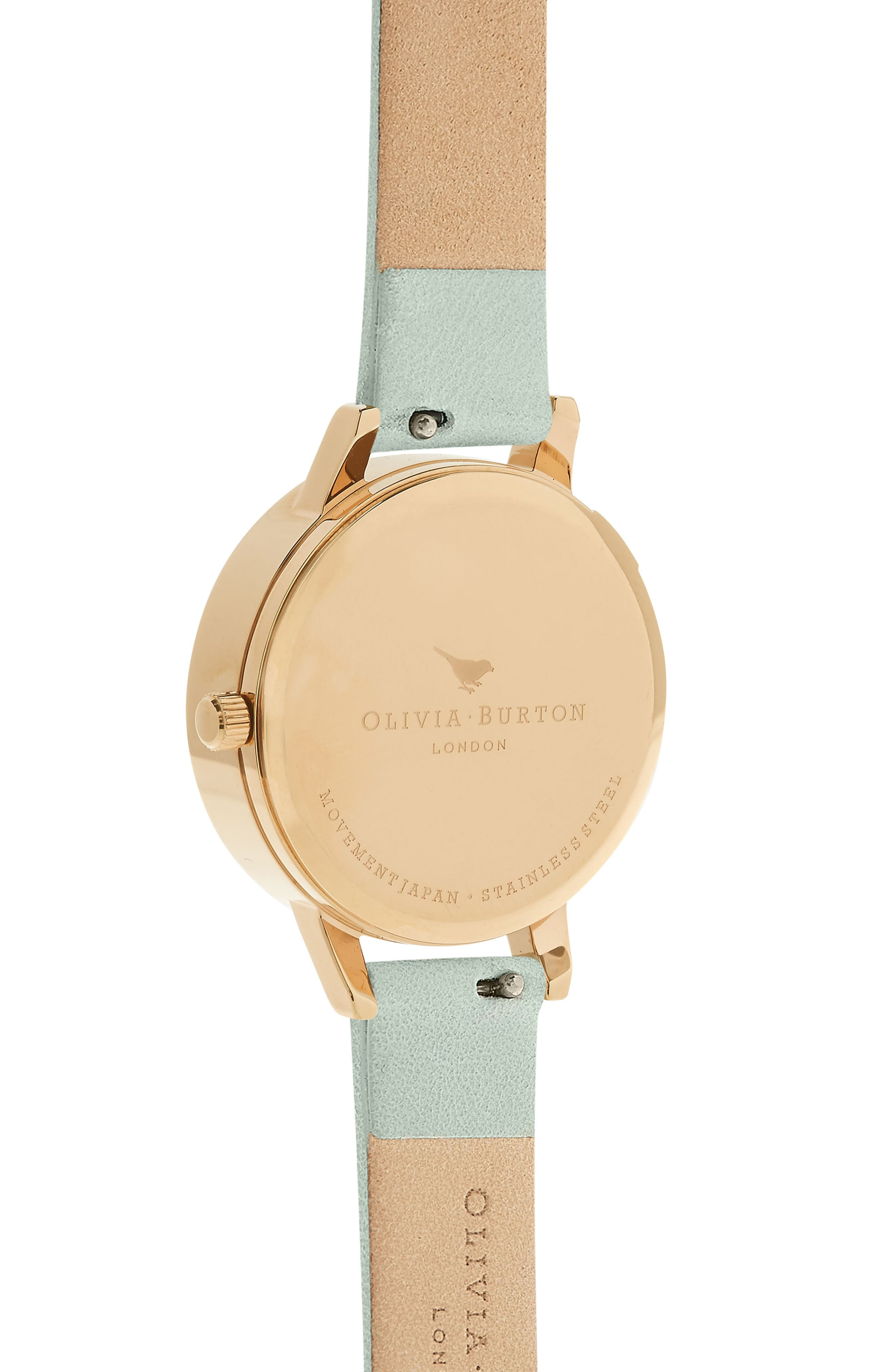 Dancing Daisy Leather Strap Watch, 30mm,                             Alternate thumbnail 2, color,                             SAGE/ WHITE/ GOLD