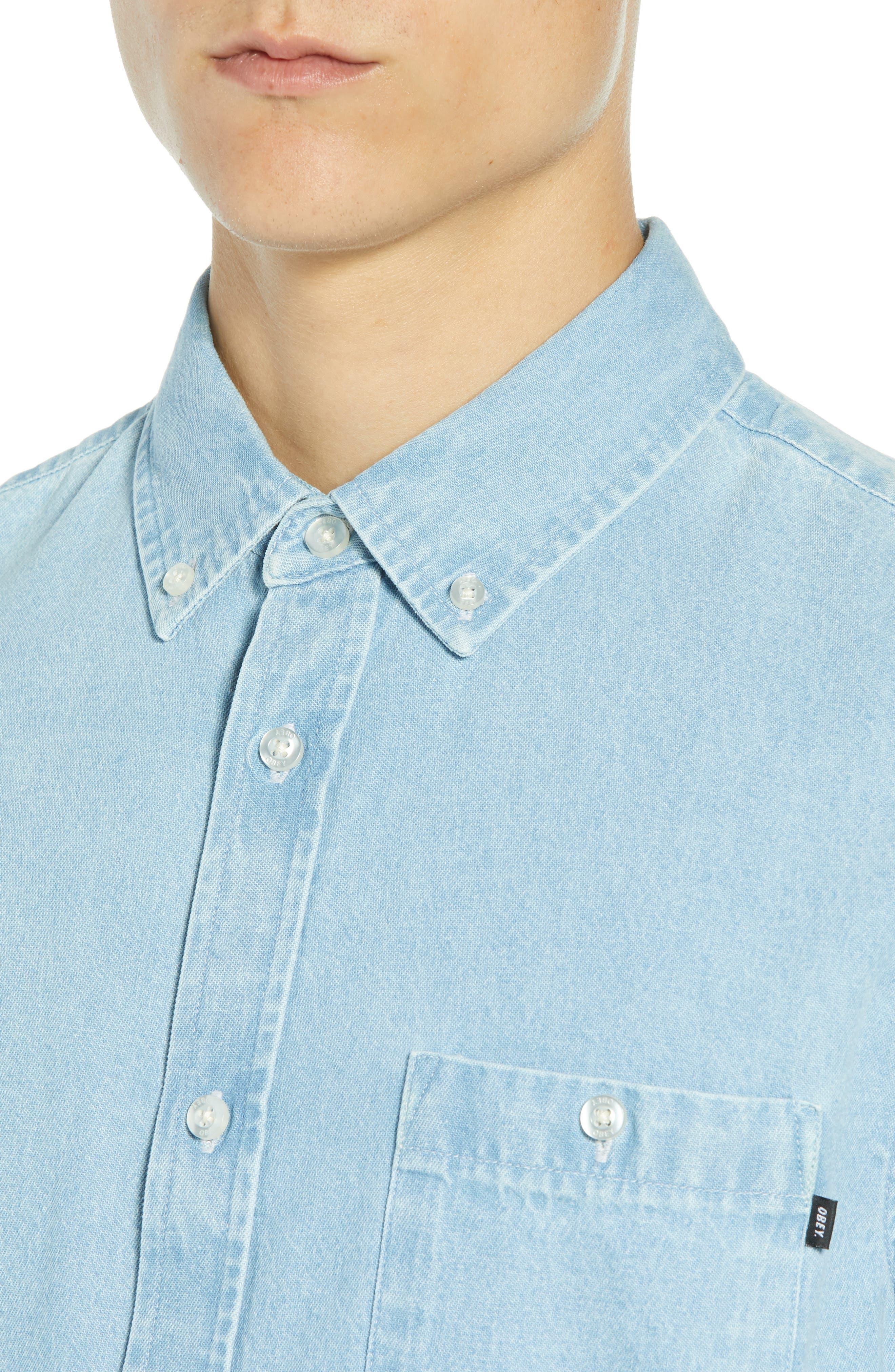 Keble Chambray Shirt,                             Alternate thumbnail 2, color,                             BLUE