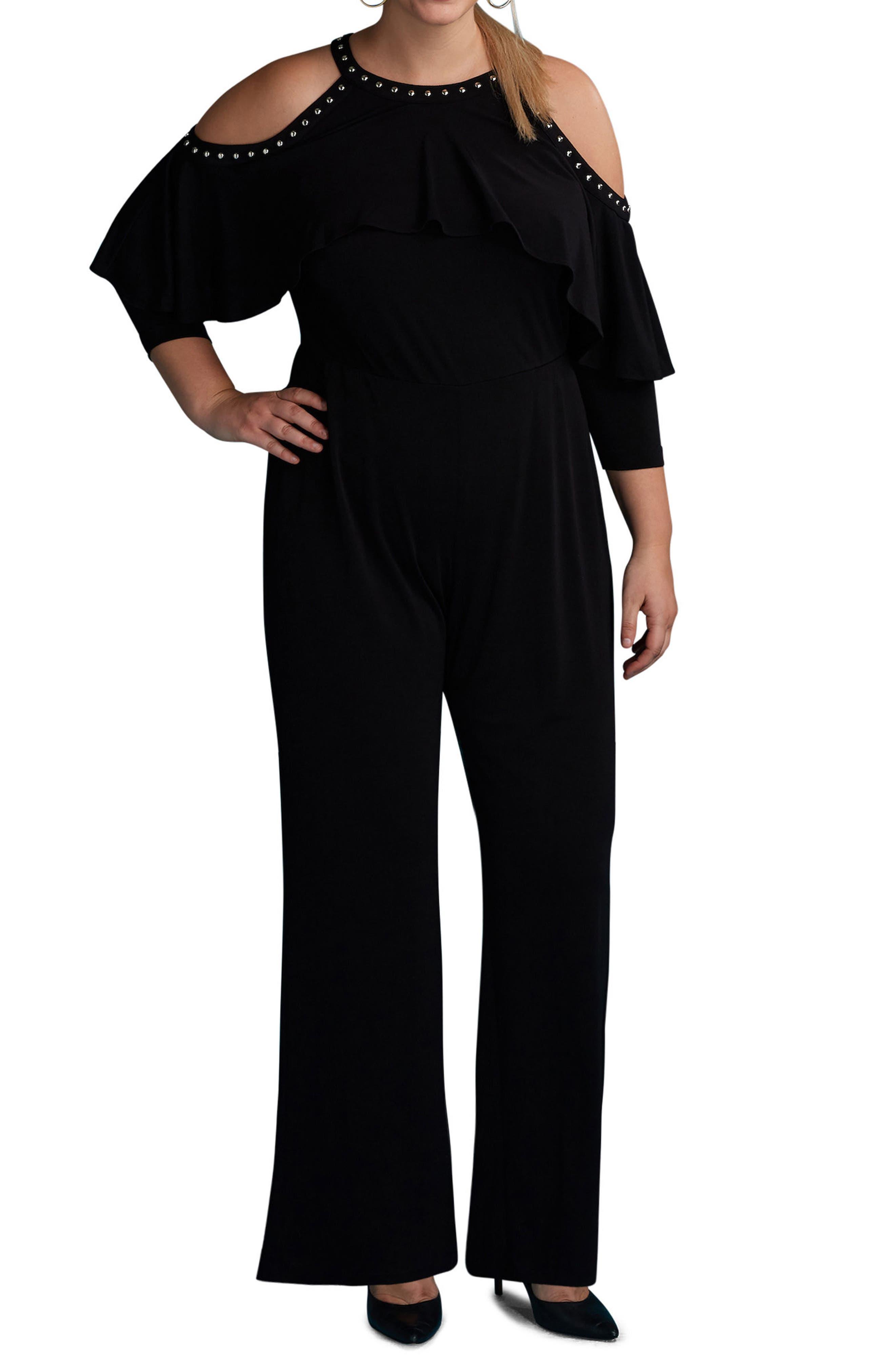 Cold Shoulder Ruffle Stud Jumpsuit,                         Main,                         color, 001