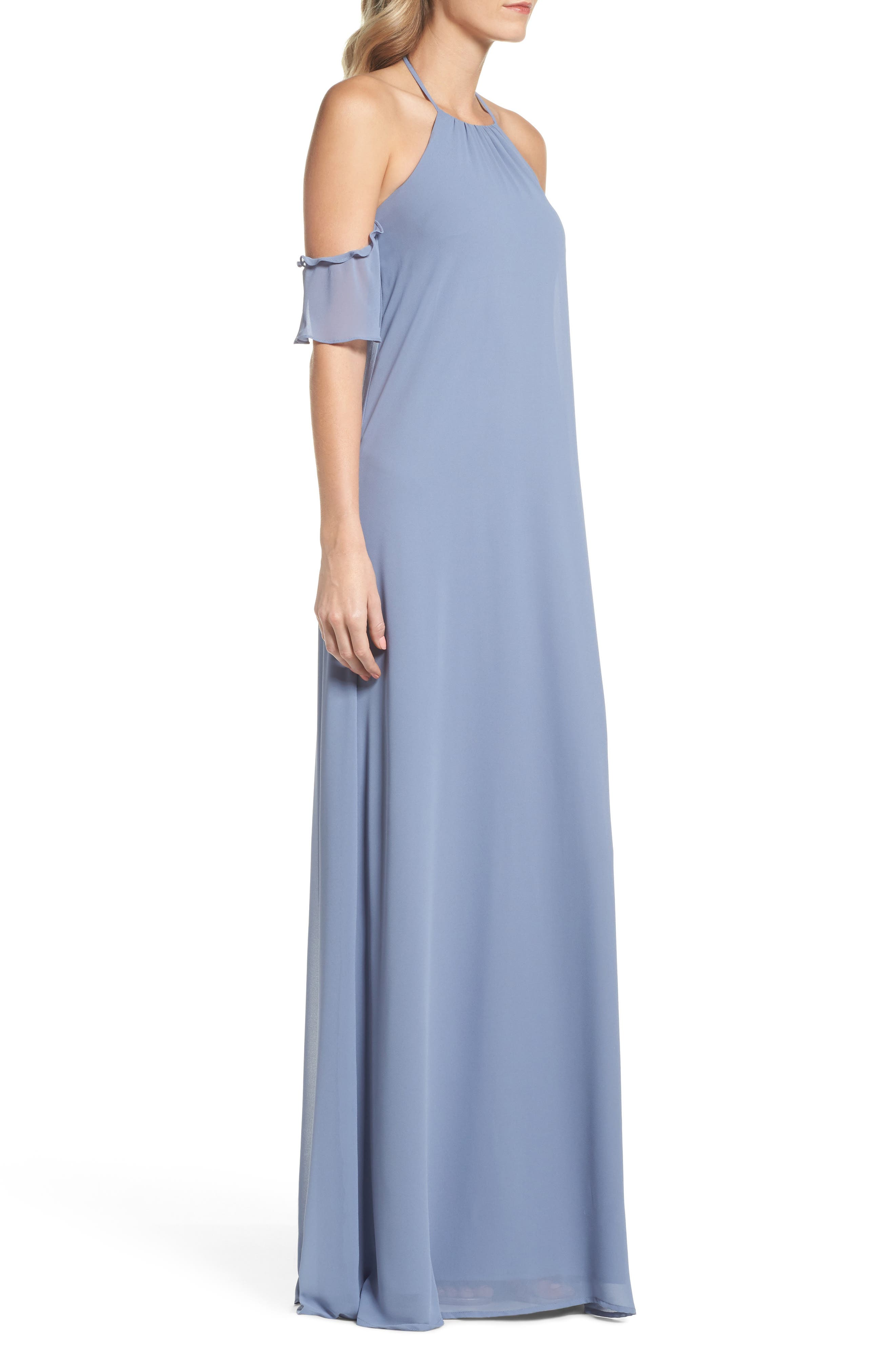 Ruffle Sleeve Halter Gown,                             Alternate thumbnail 3, color,                             420