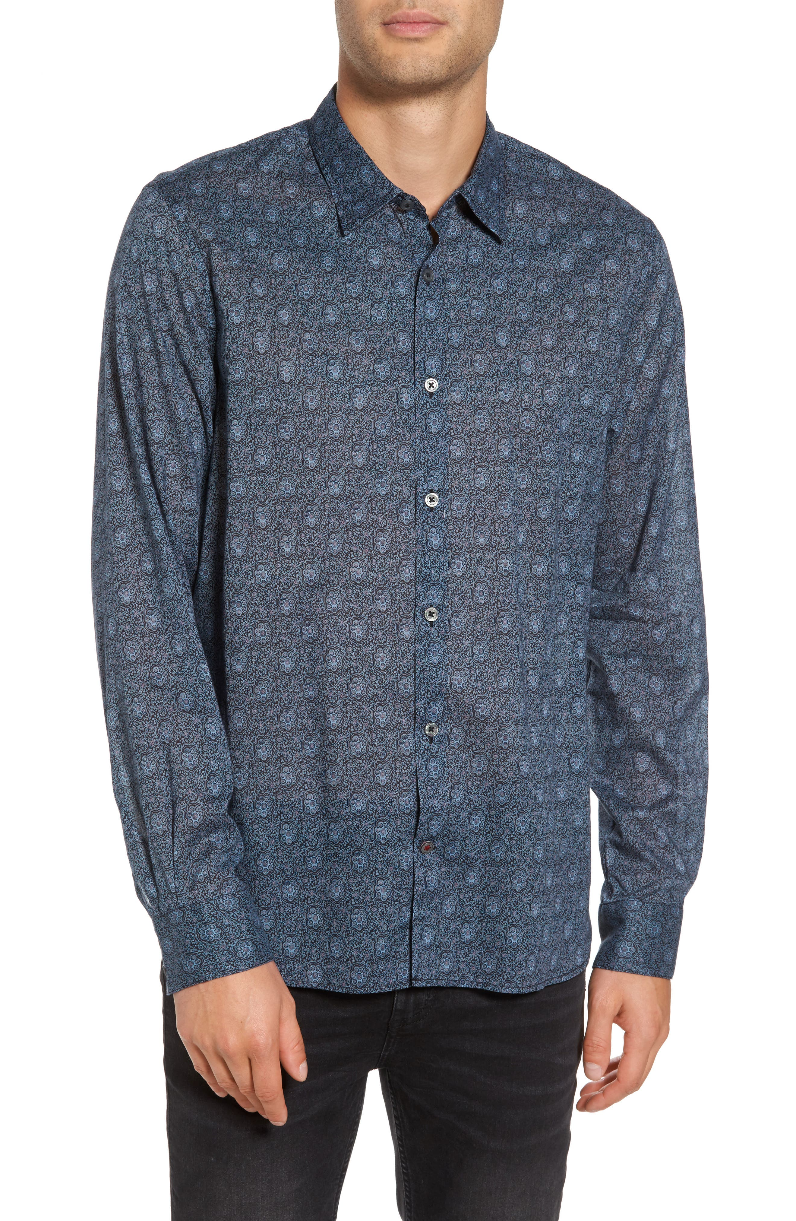 Slim Fit Mosaic Print Sport Shirt,                         Main,                         color, 414