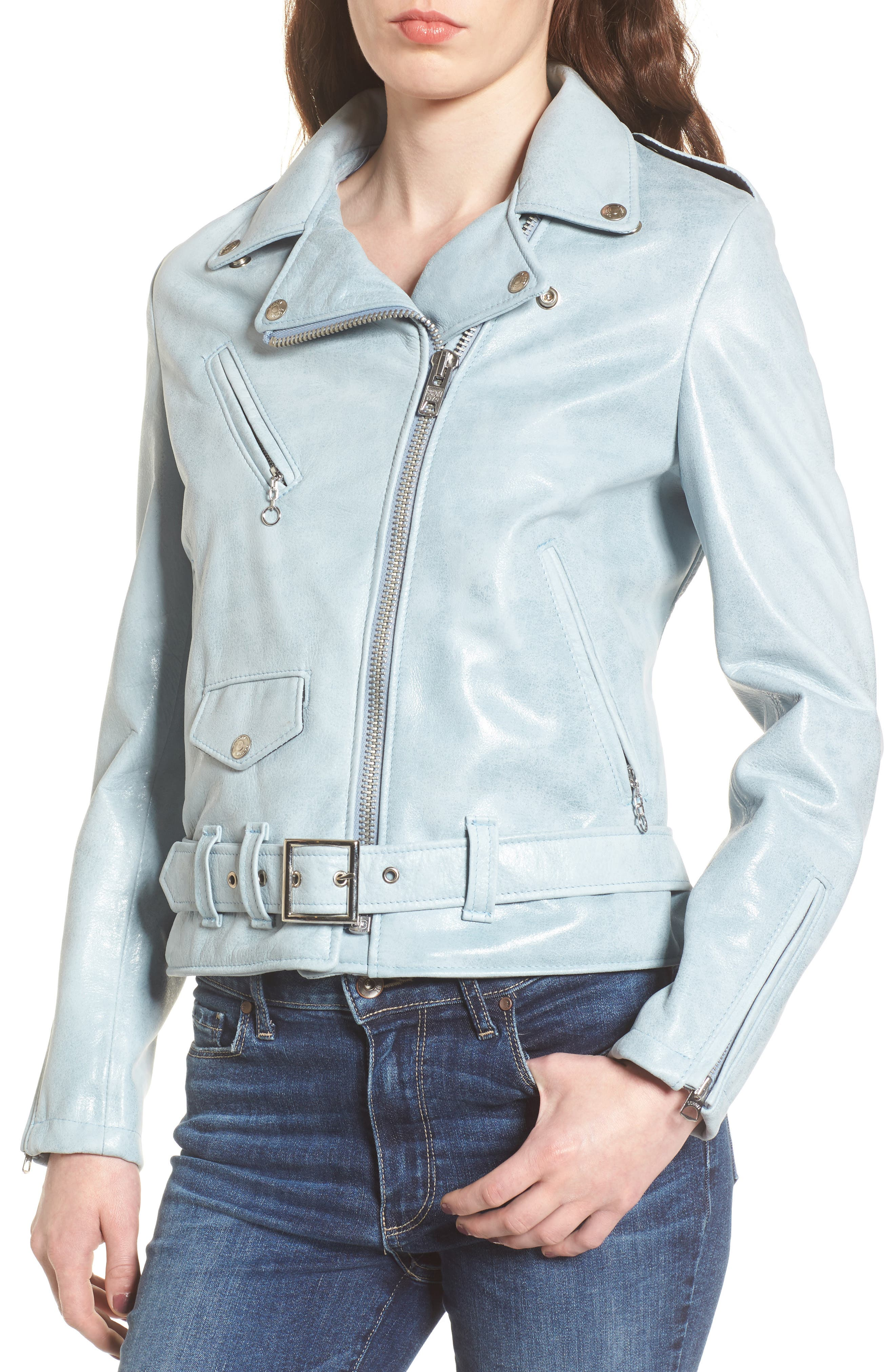 Perfecto Distressed Leather Boyfriend Jacket,                             Alternate thumbnail 11, color,