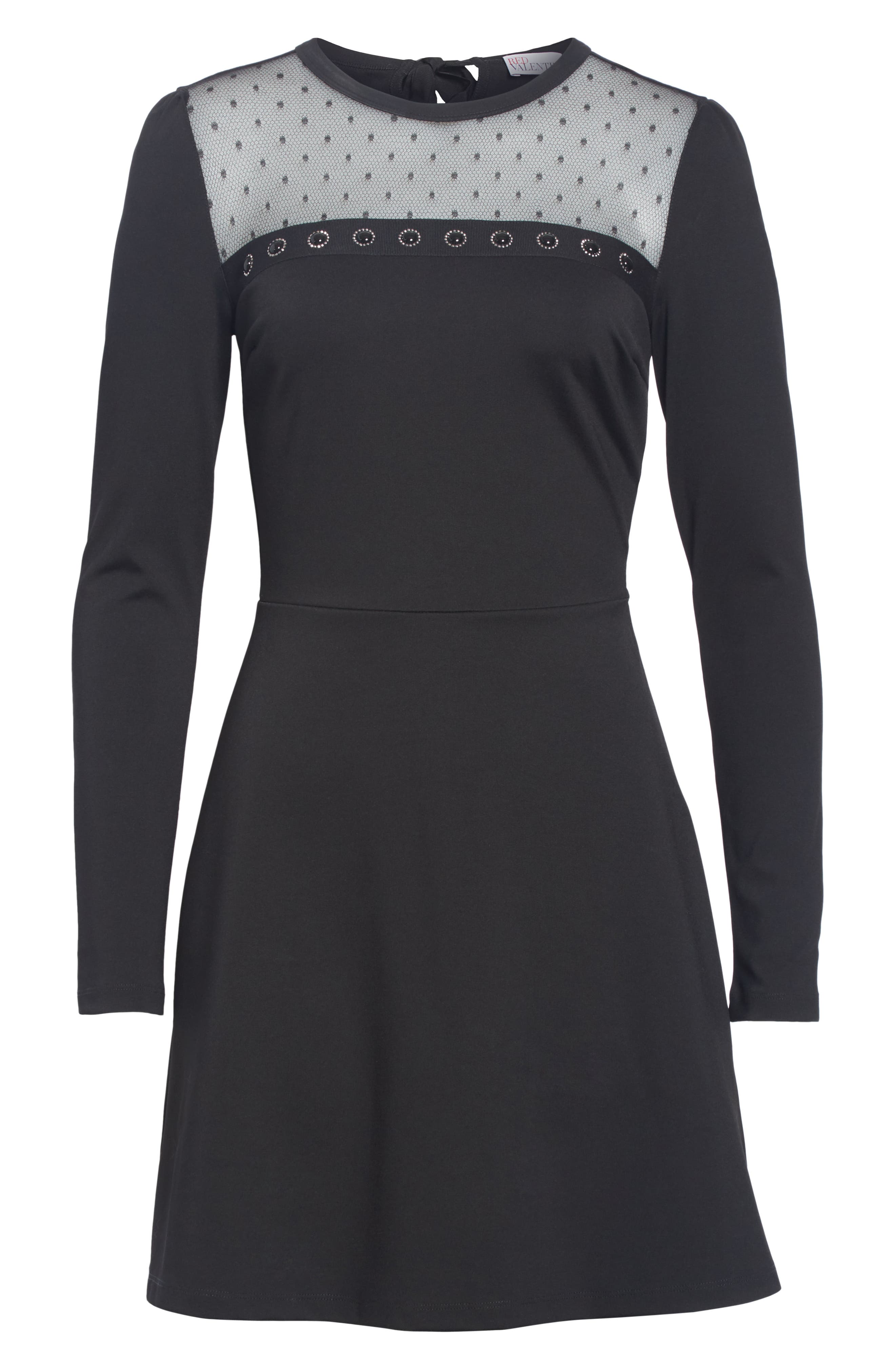 Point d'Esprit Yoke Dress,                             Alternate thumbnail 6, color,                             BLACK