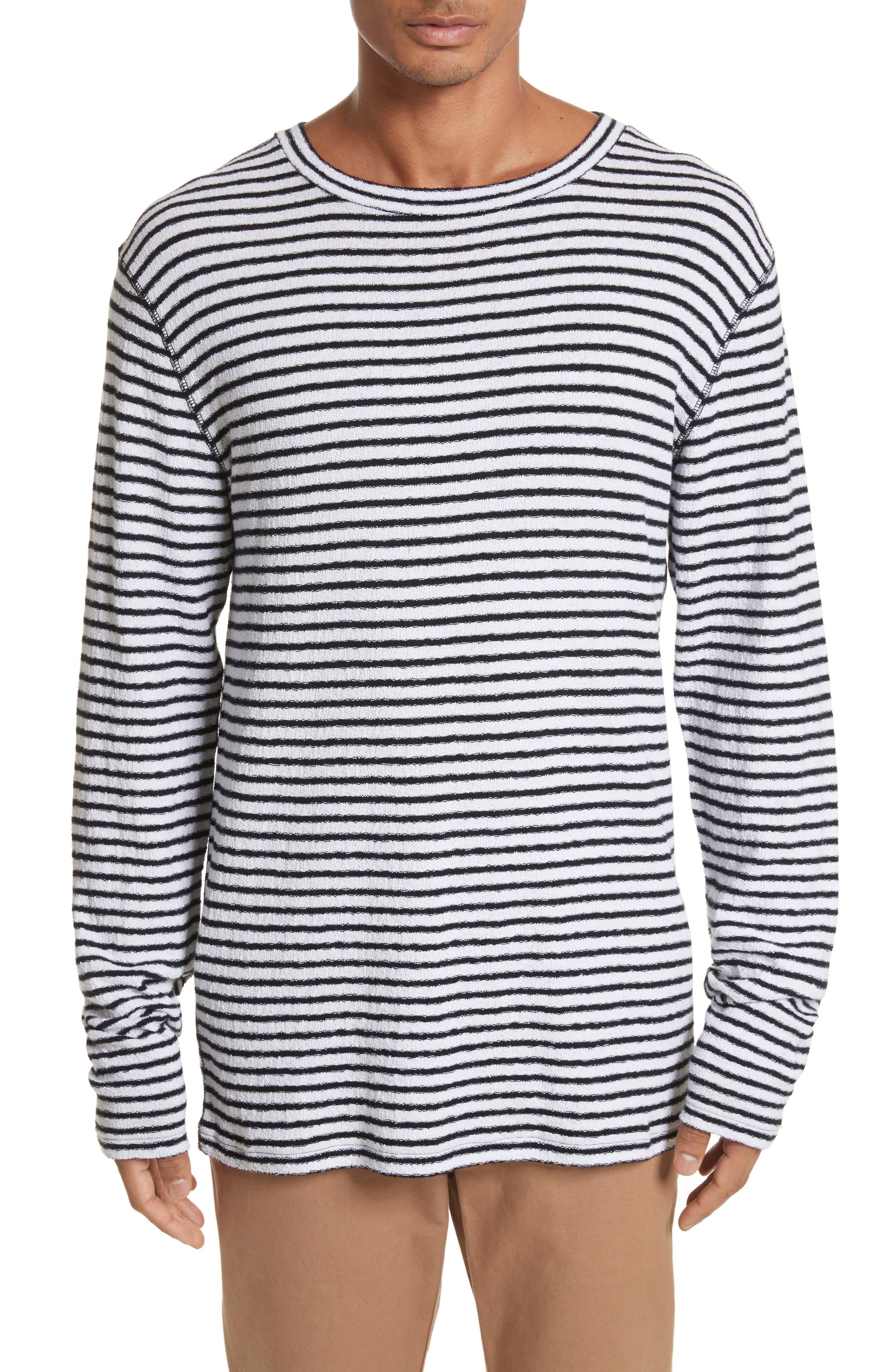 Alex Stripe Long Sleeve T-Shirt,                         Main,                         color, WHITE/BLACK