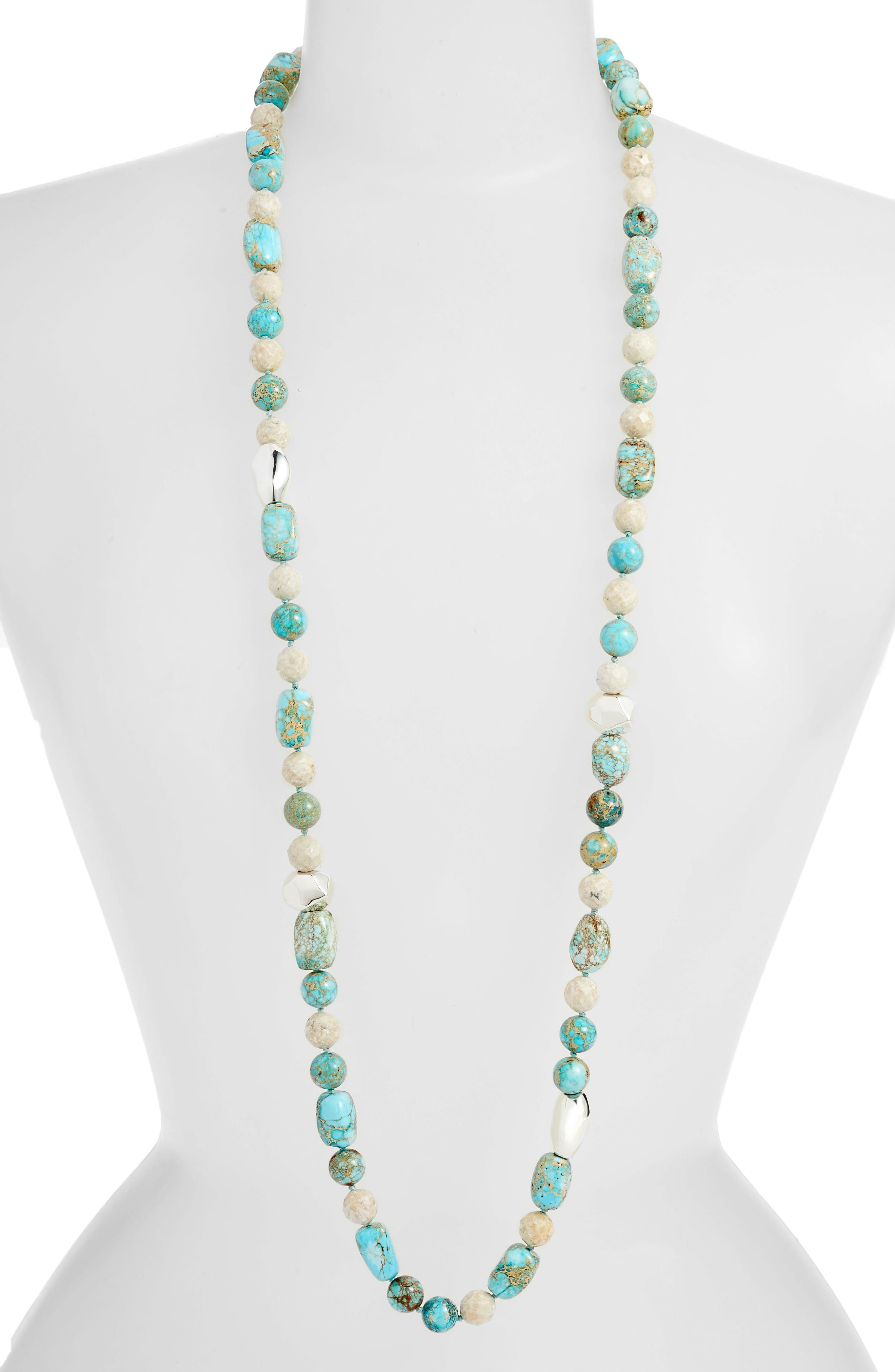 Silver Accent Jasper Beaded Necklace,                         Main,                         color, BLUE/ BEIGE/ SILVER