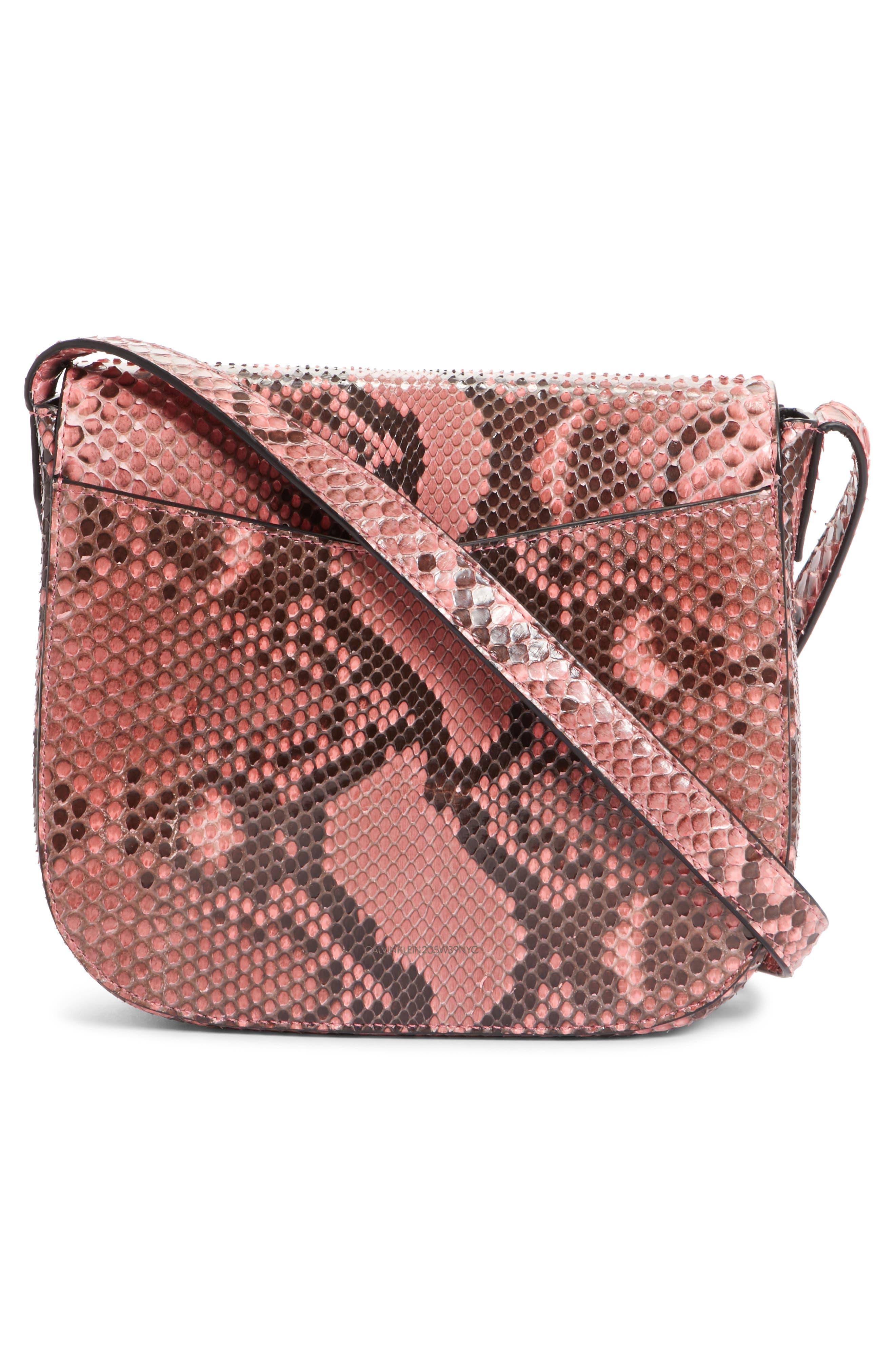 Calvin Klein 205W395NYC Genuine Python Shoulder Bag,                             Alternate thumbnail 3, color,