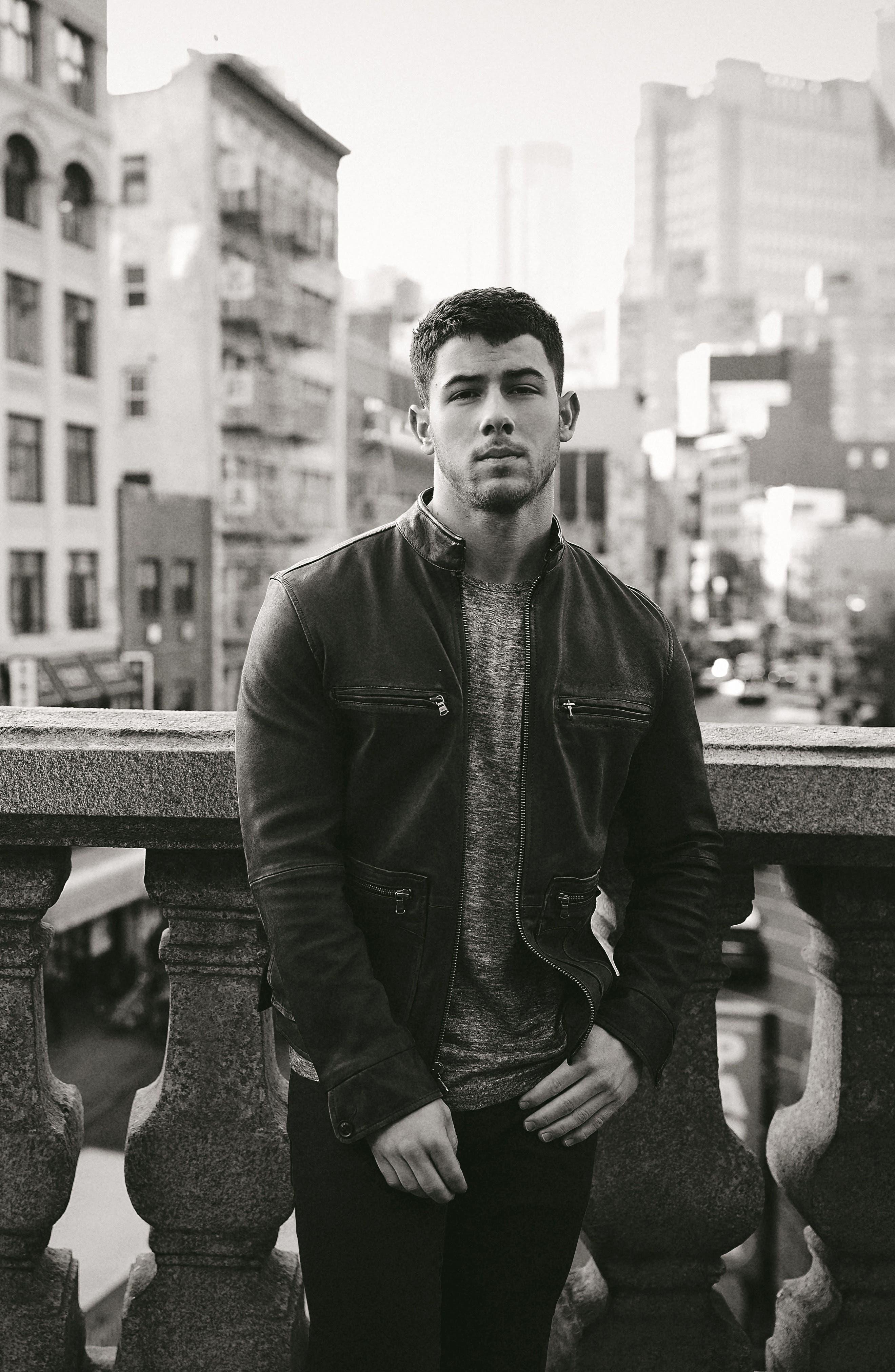 John Varvatos x Nick Jonas Modern Moto Jacket,                             Alternate thumbnail 7, color,                             020