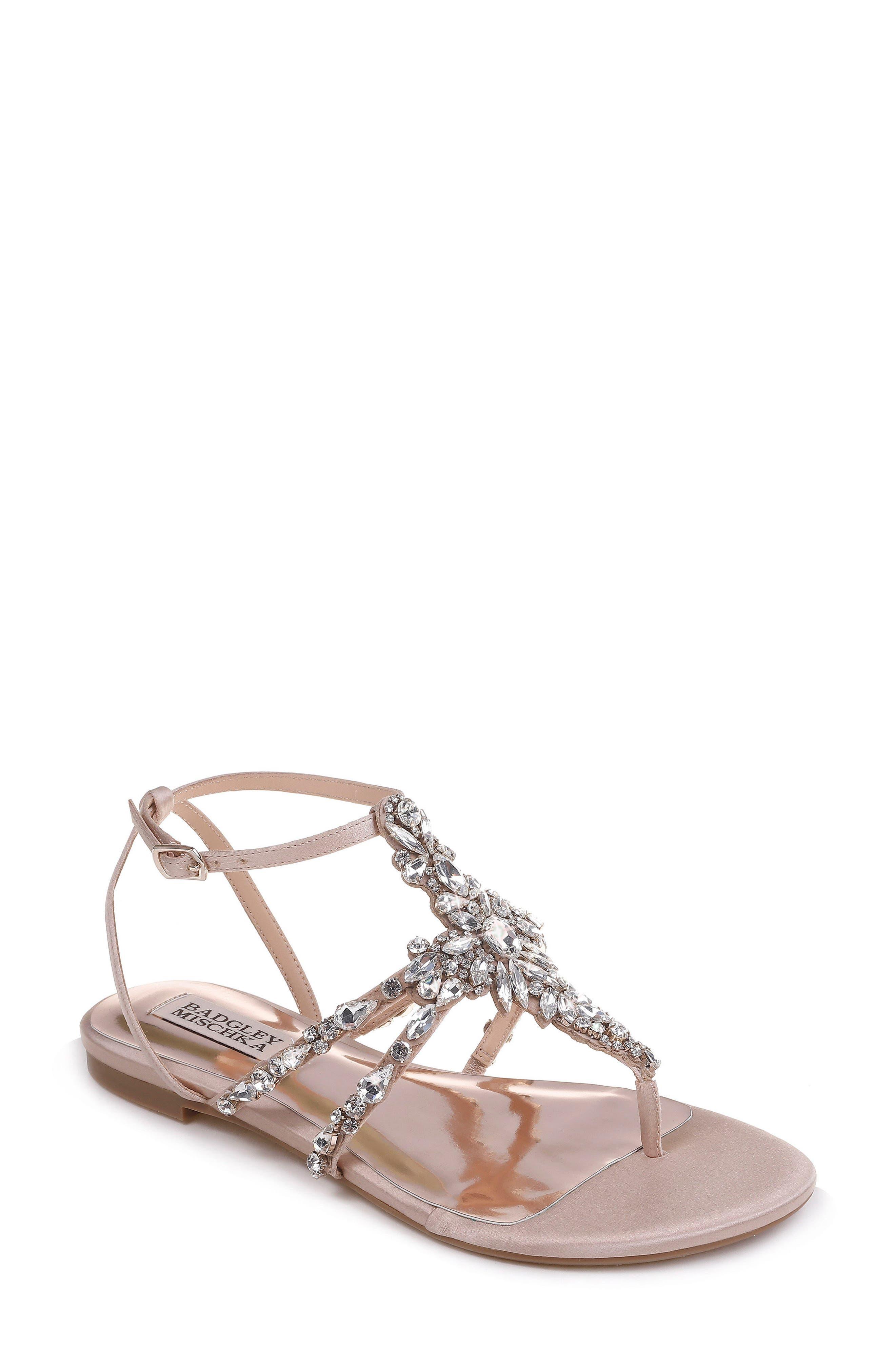 Hampden Crystal Embellished Sandal,                             Main thumbnail 1, color,                             LATTE SATIN