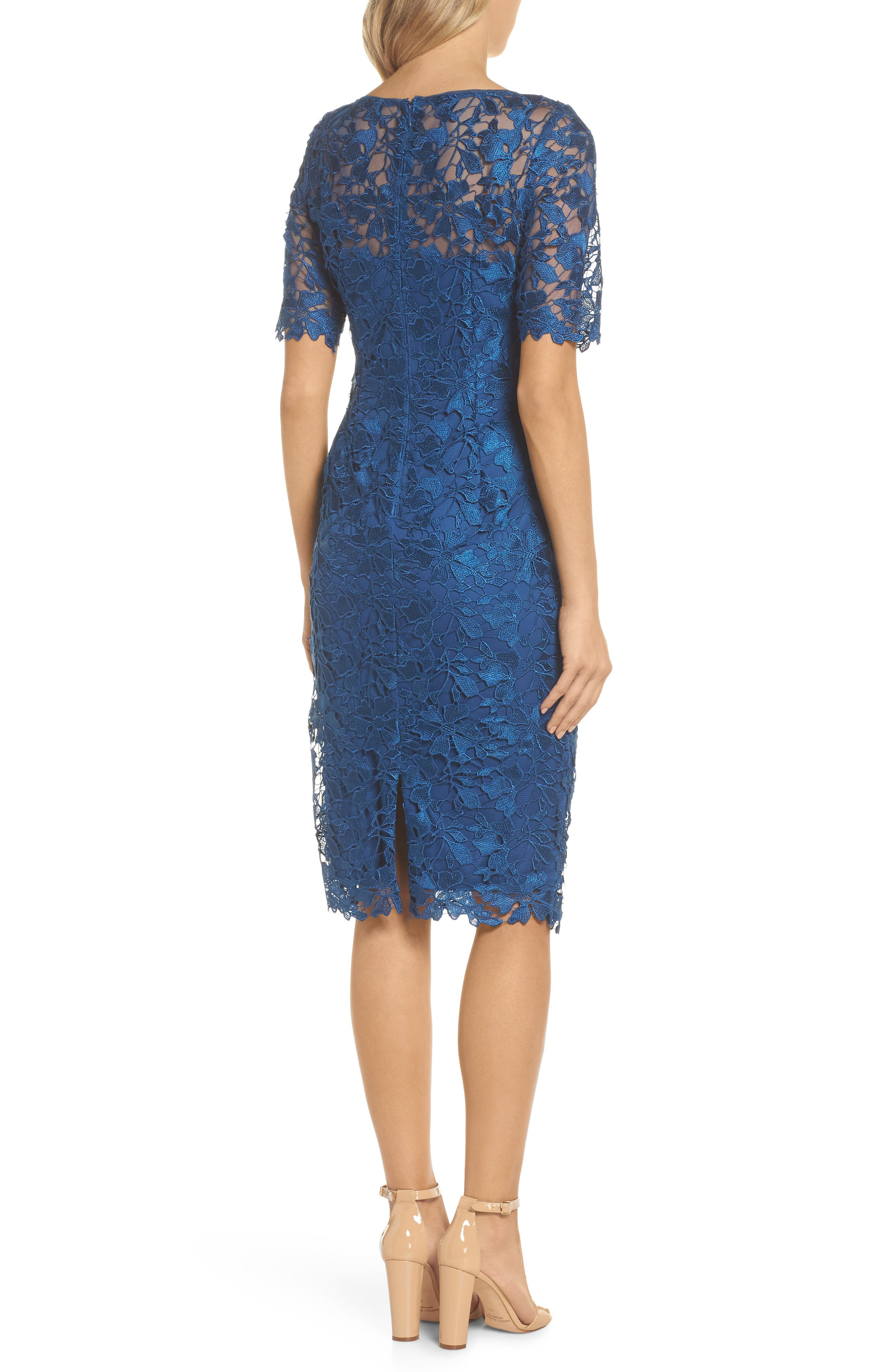 ADRIANNA PAPELL,                             Guipure Lace Sheath Dress,                             Alternate thumbnail 2, color,                             413