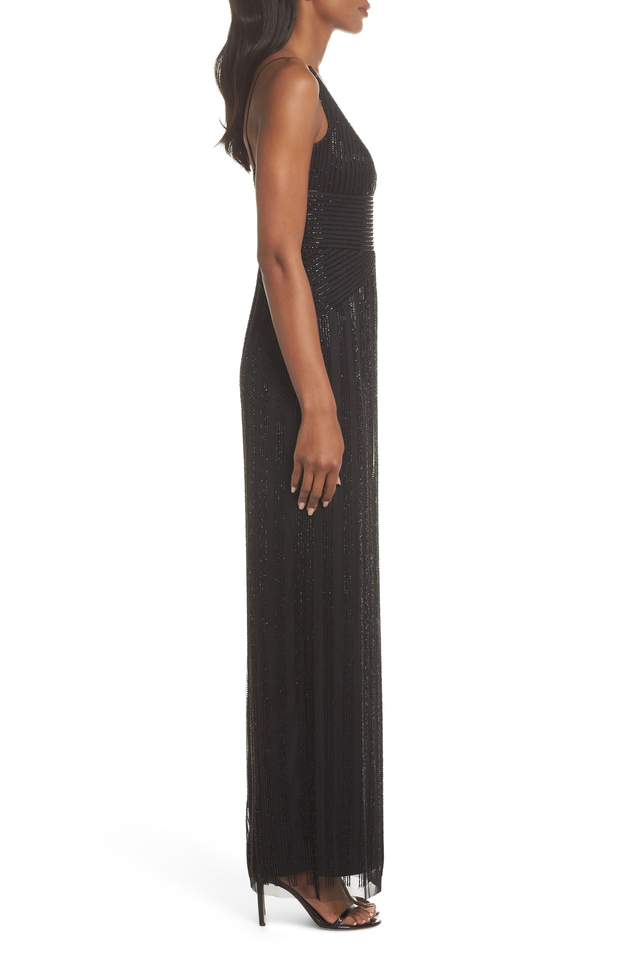 V-Neck Beaded Stripe Gown,                             Alternate thumbnail 3, color,                             BLACK