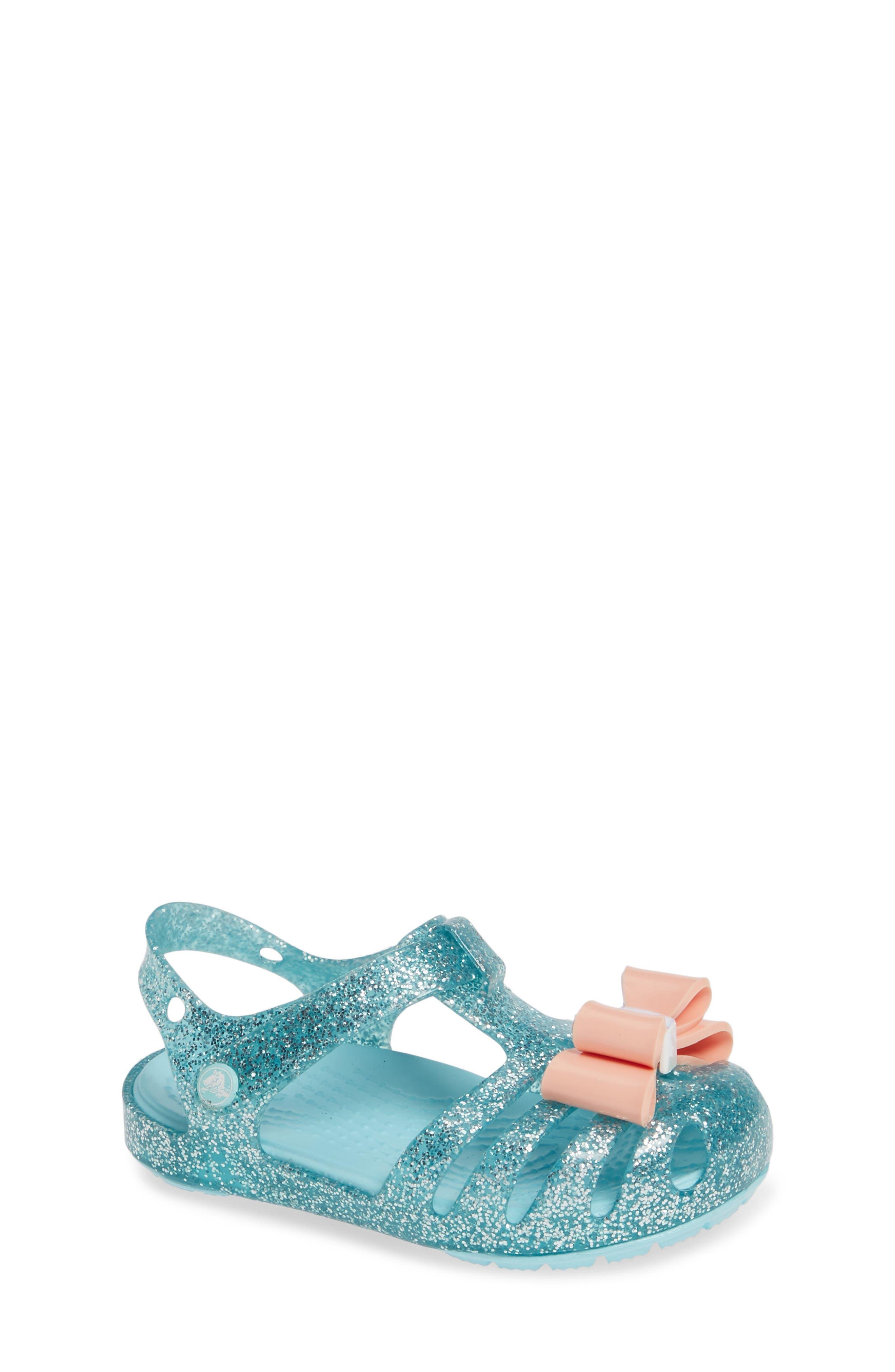 Isabella Bow Glitter Fisherman Sandal,                         Main,                         color, ICE BLUE