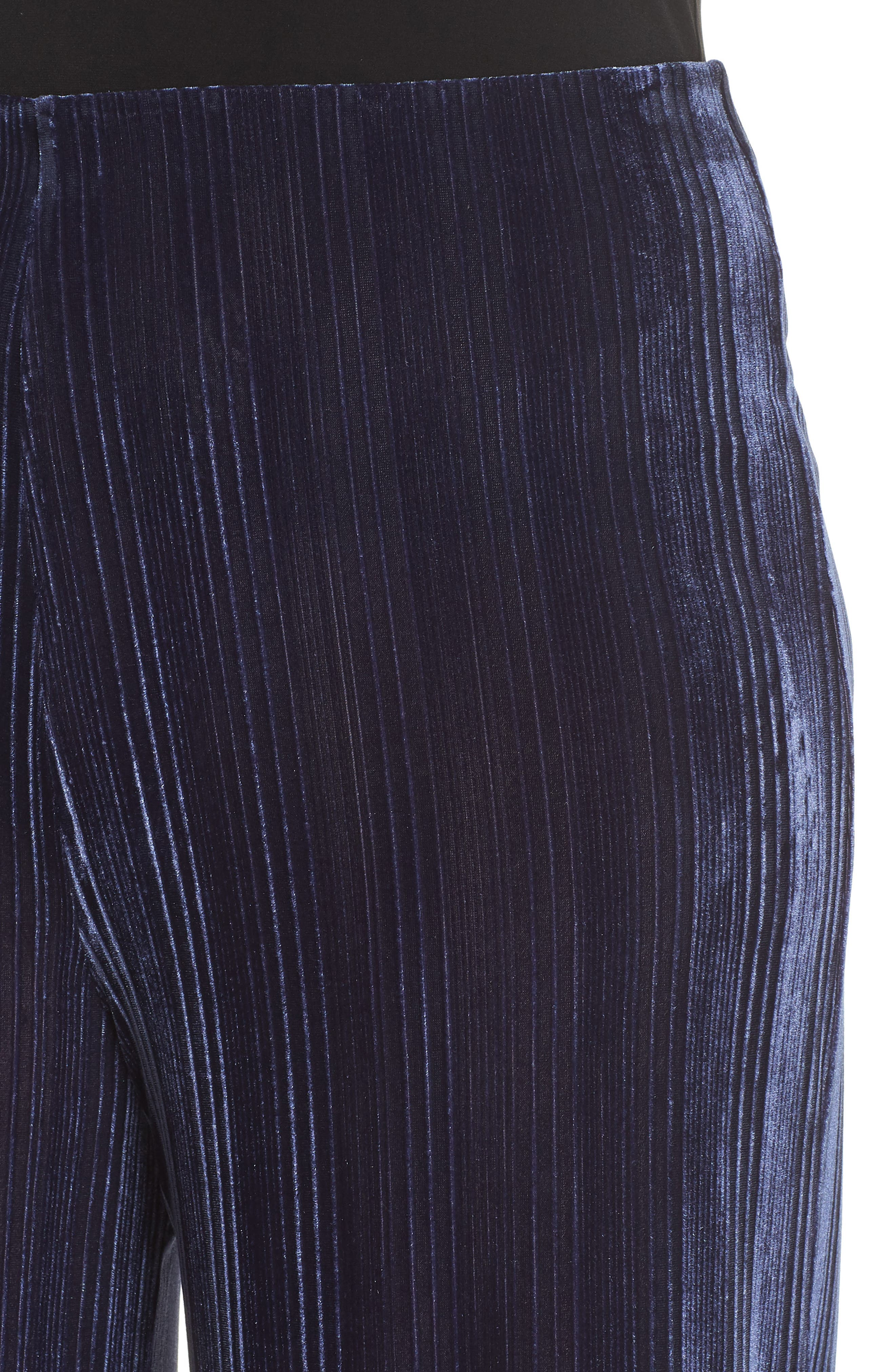 High Rise Velour Wide Leg Crop Pants,                             Alternate thumbnail 4, color,                             NAVY MARITIME