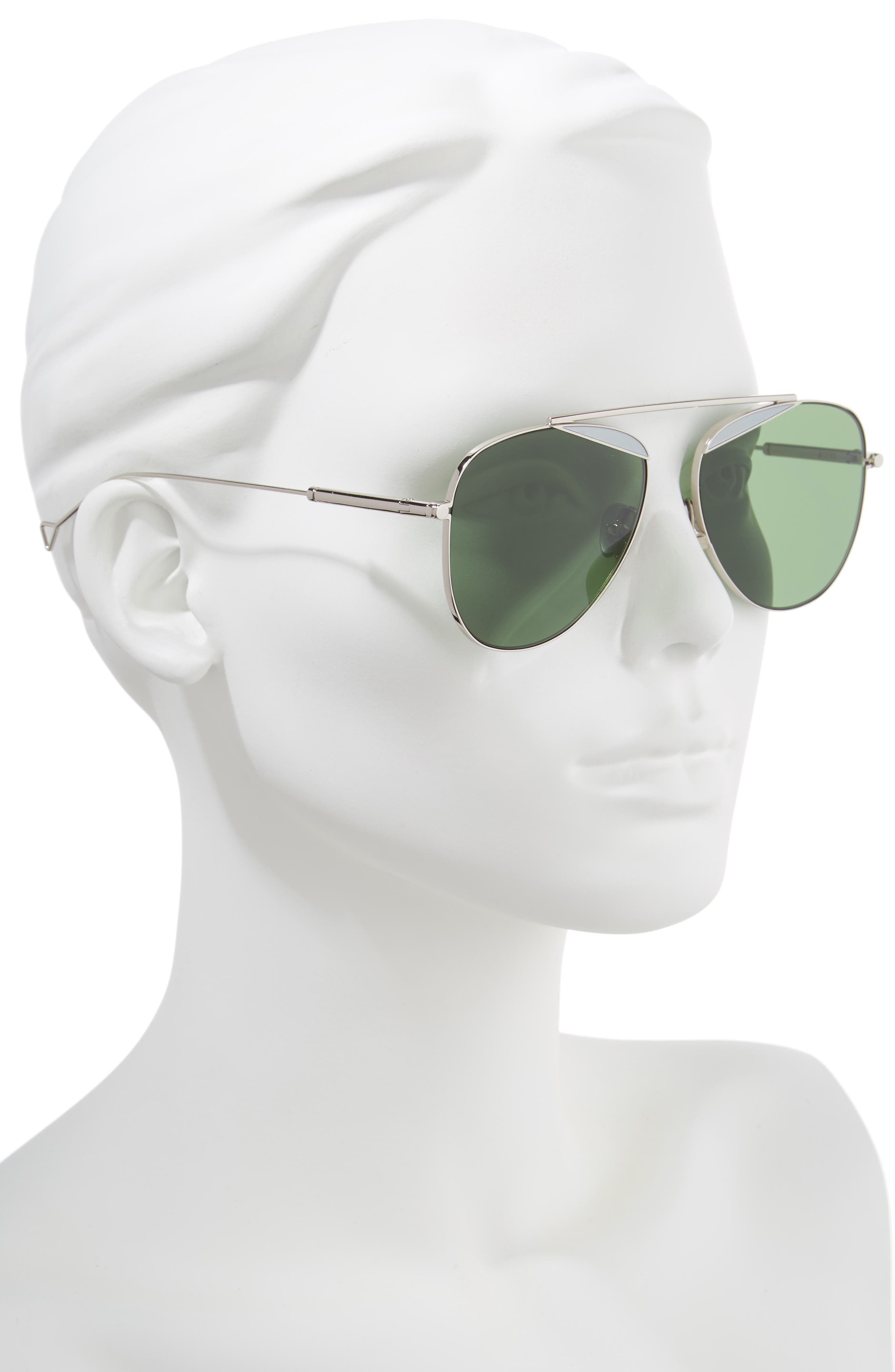 The Durete 58mm Aviator Sunglasses,                             Alternate thumbnail 2, color,                             BOTTLE GREEN