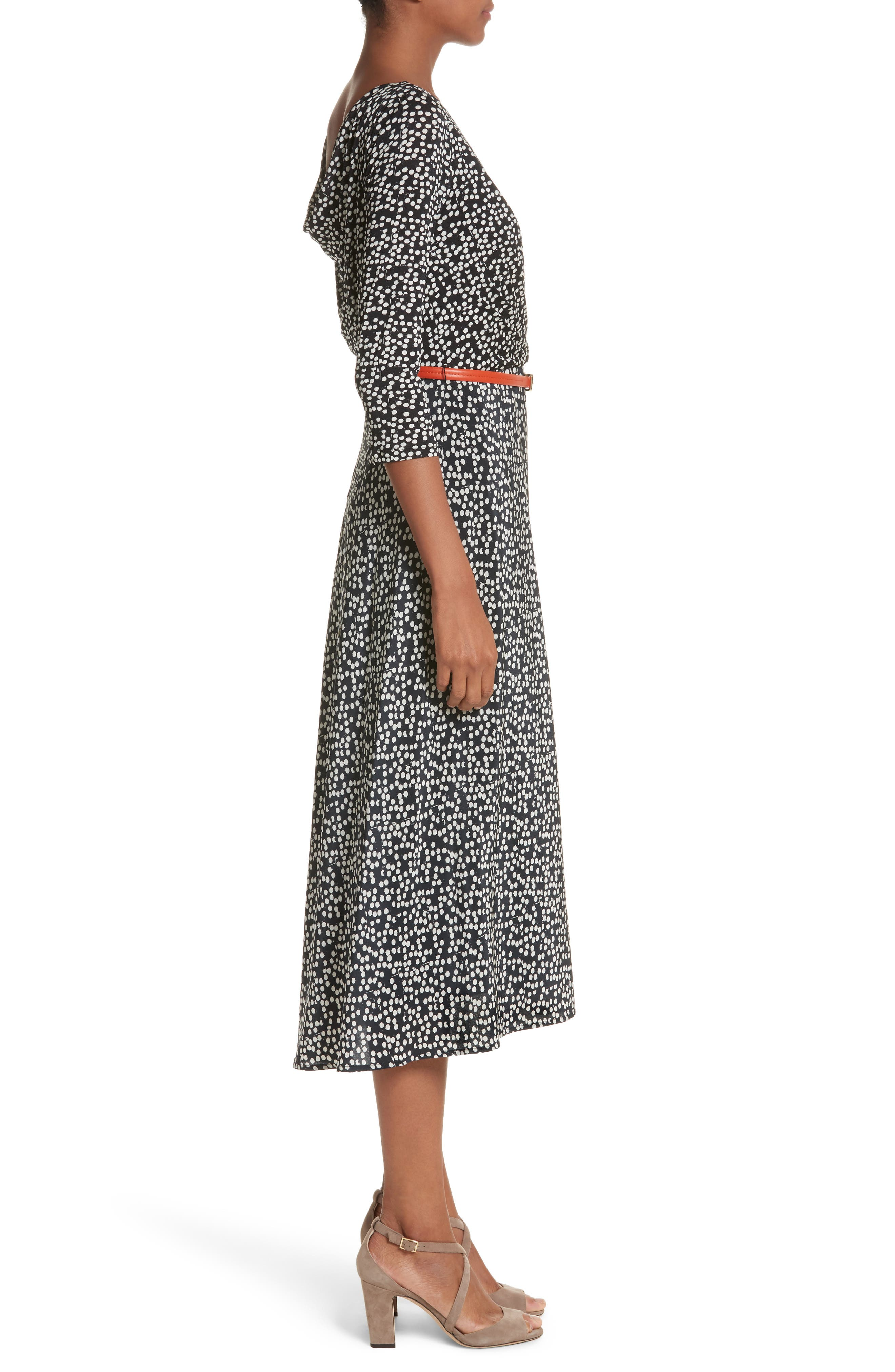 Peter Dot Print Midi Dress,                             Alternate thumbnail 3, color,                             001