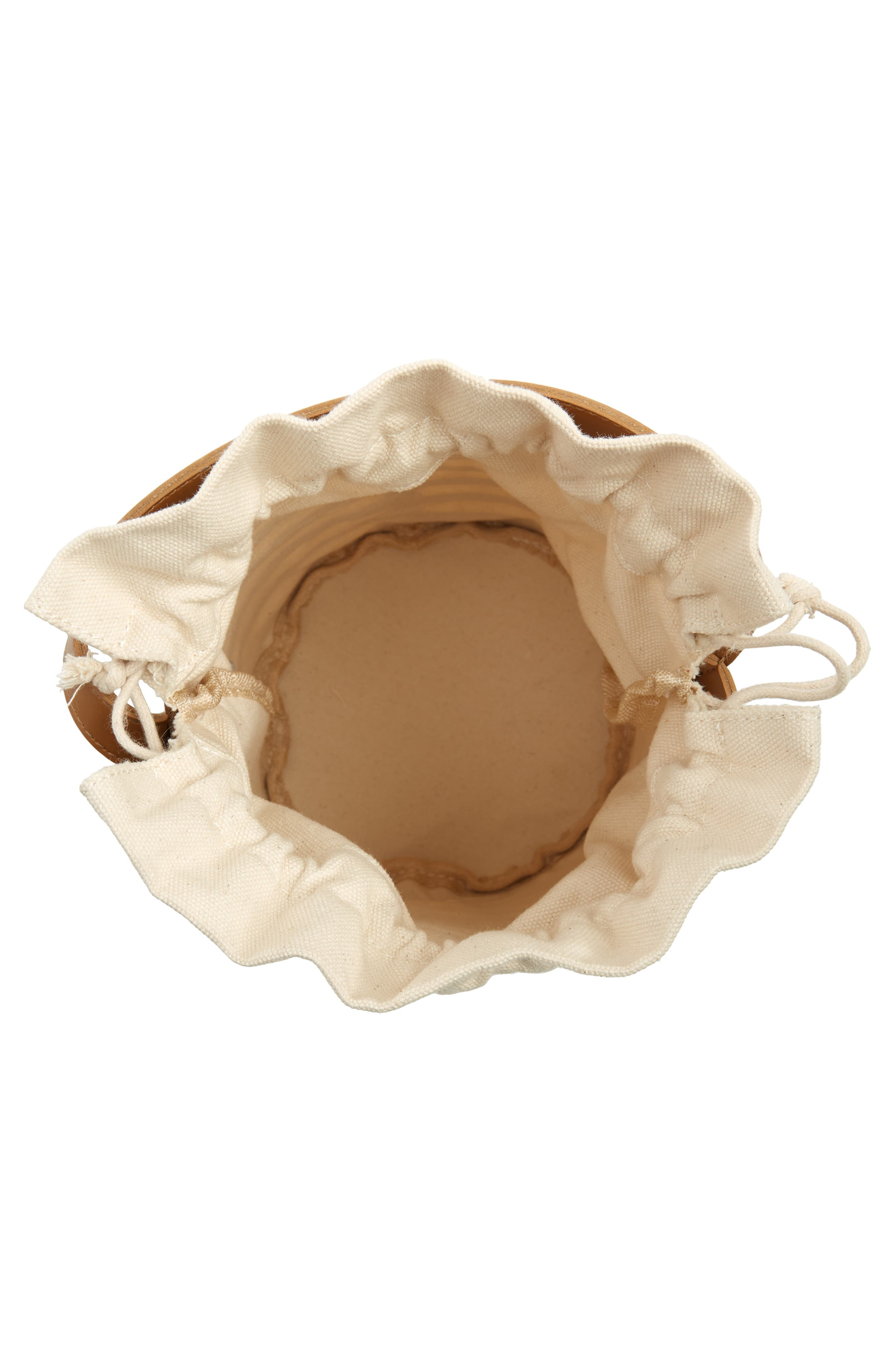 Cutout Round Bucket Crossbody Bag,                             Alternate thumbnail 4, color,                             TAN