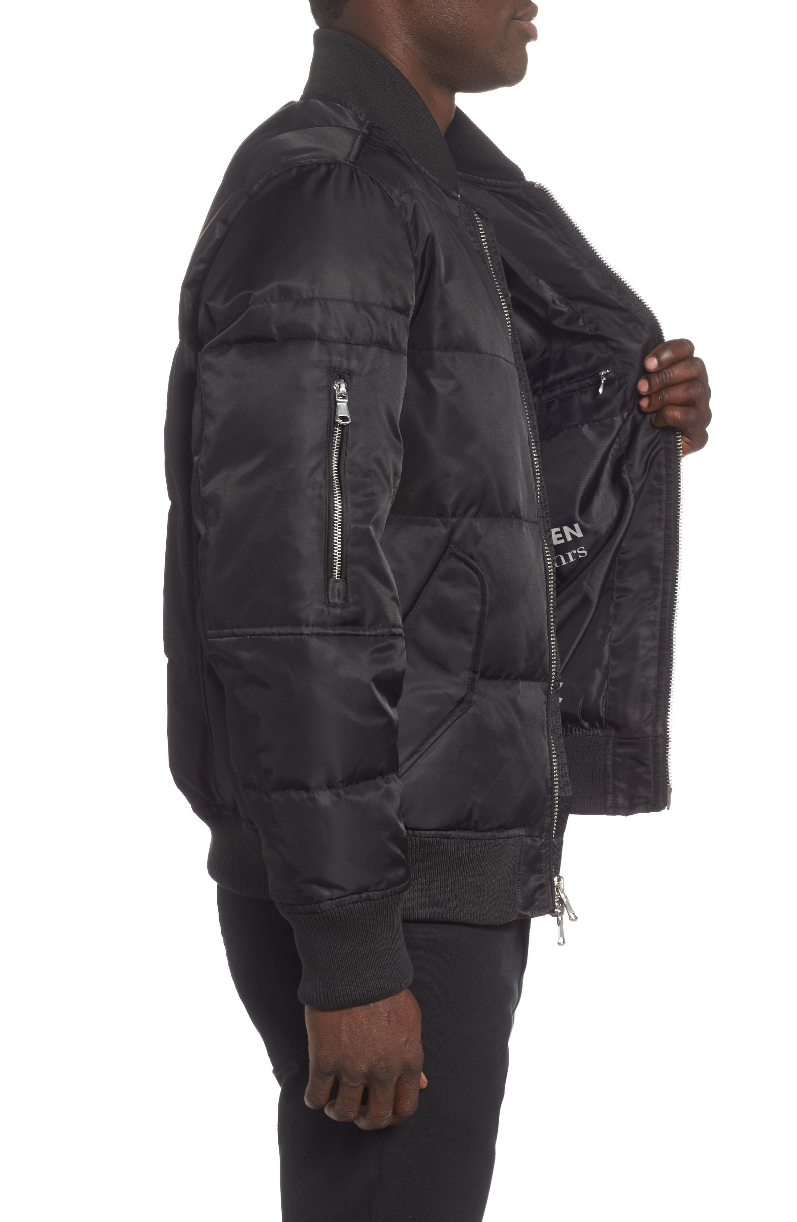 Vandal Down & Feather Fill Quilted Bomber Jacket,                             Alternate thumbnail 3, color,                             BLACK