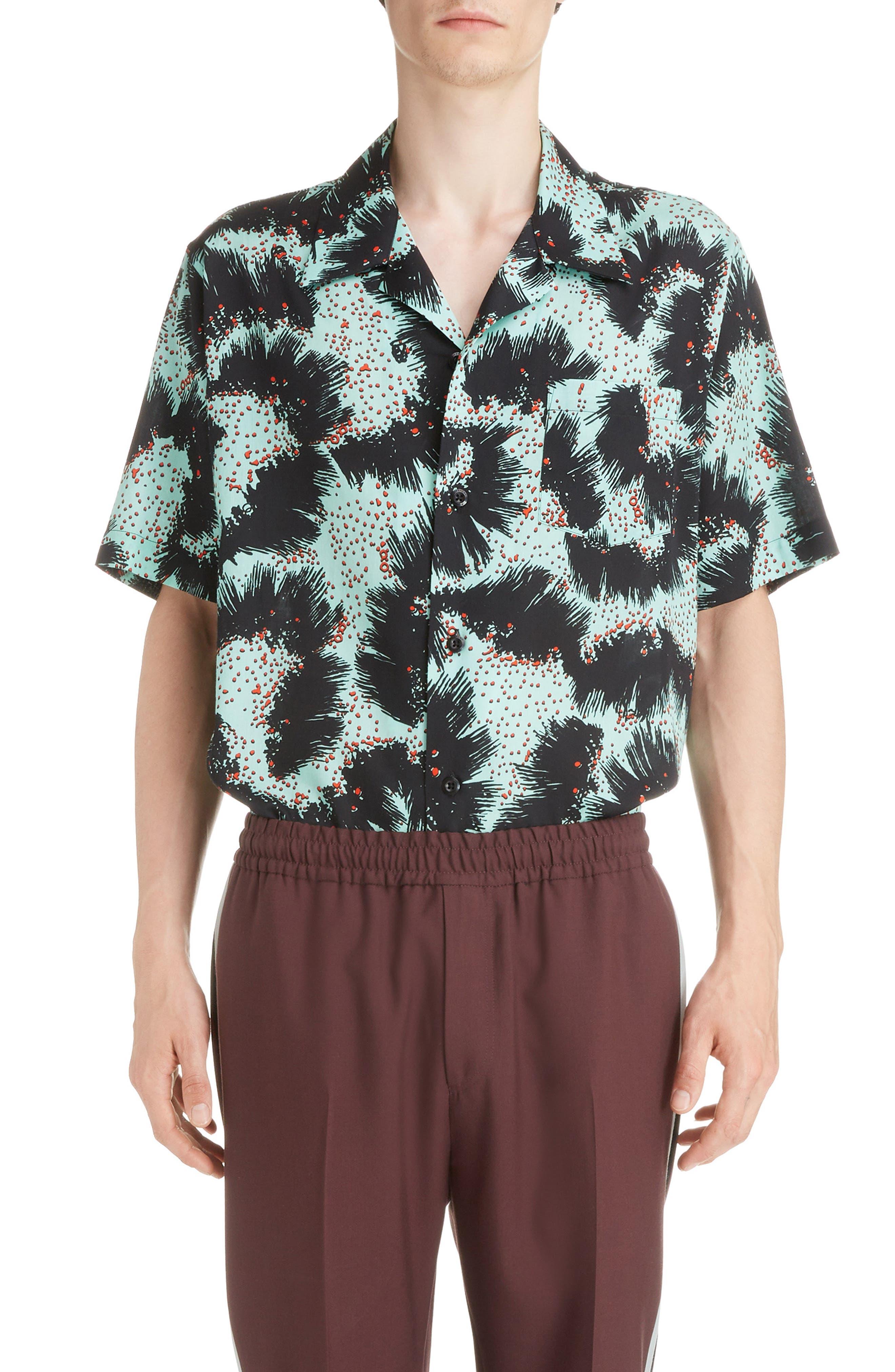 Rock Urchin Camp Shirt,                             Main thumbnail 1, color,                             GREEN/BLACK