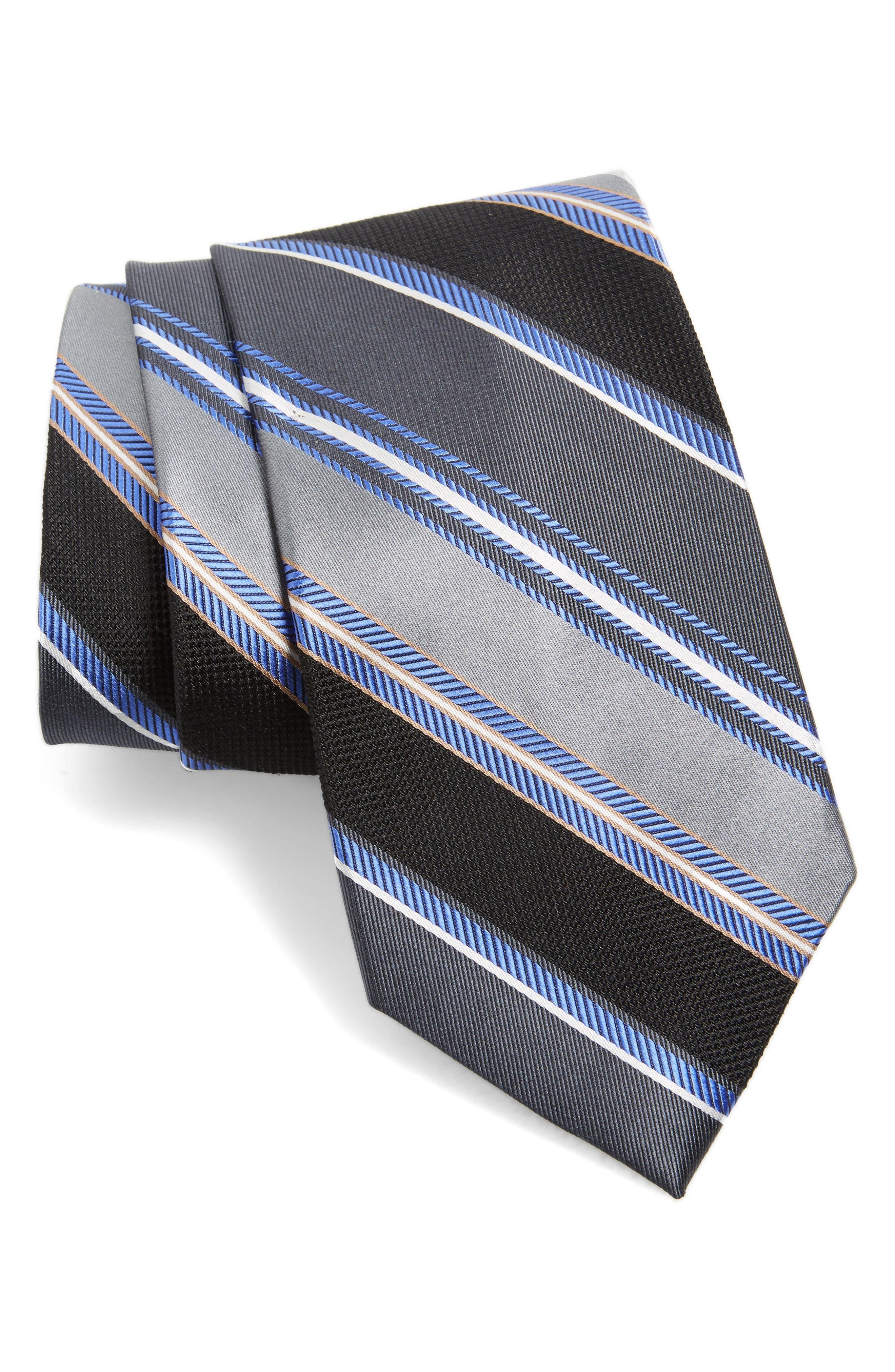 Regal Stripe Silk Tie,                             Main thumbnail 1, color,                             001