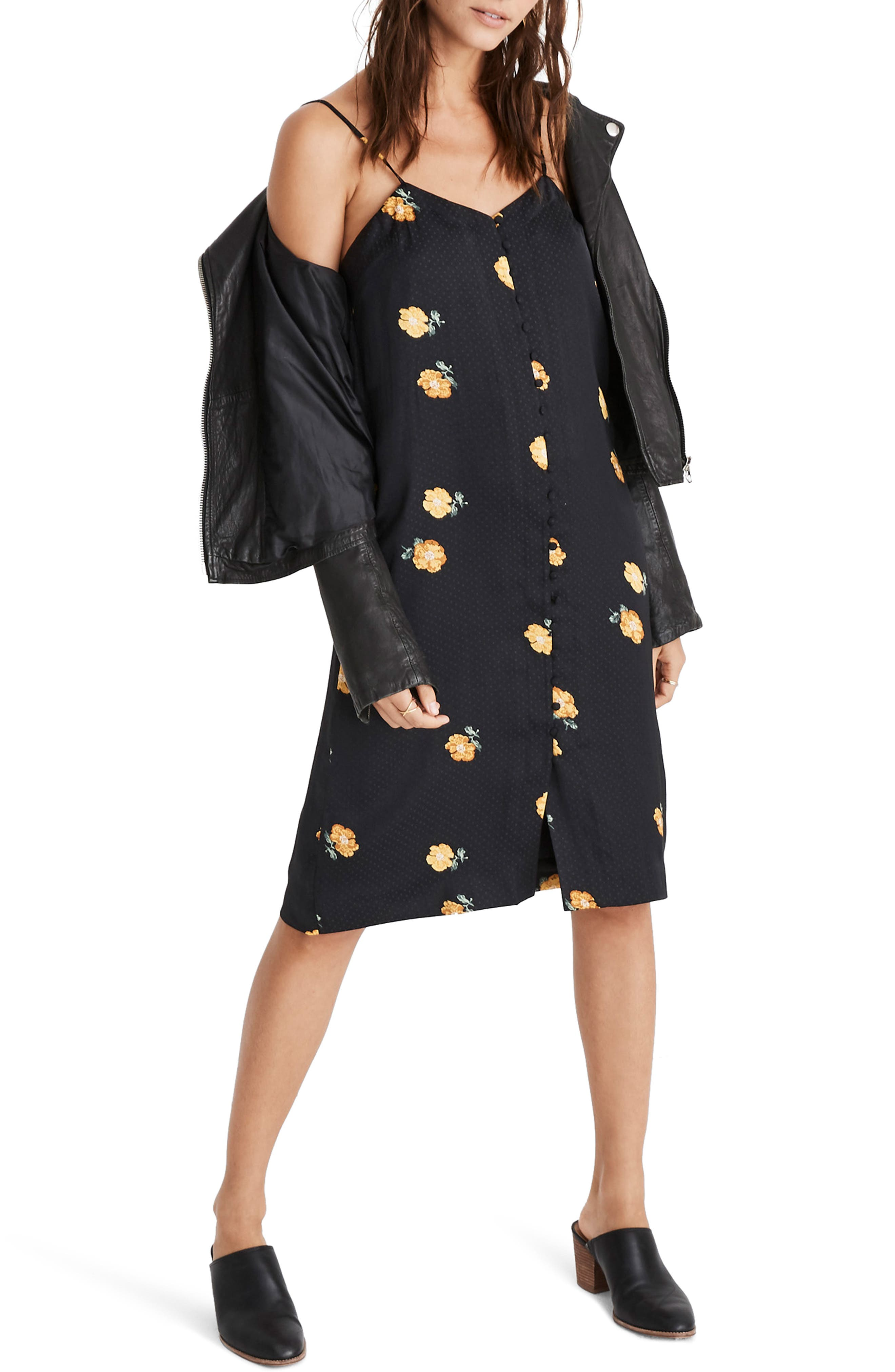 Madewell Floating Florets Button Front Slipdress, Black