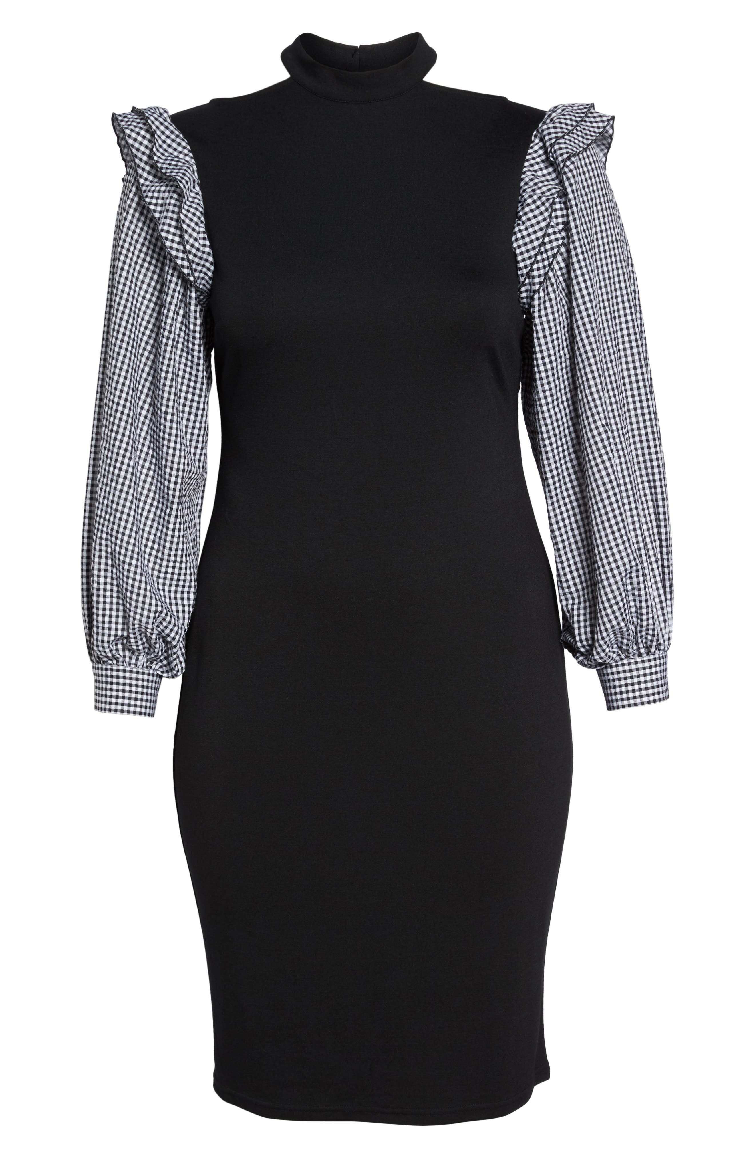 Gingham Sleeve Body-Con Dress,                             Alternate thumbnail 6, color,                             001
