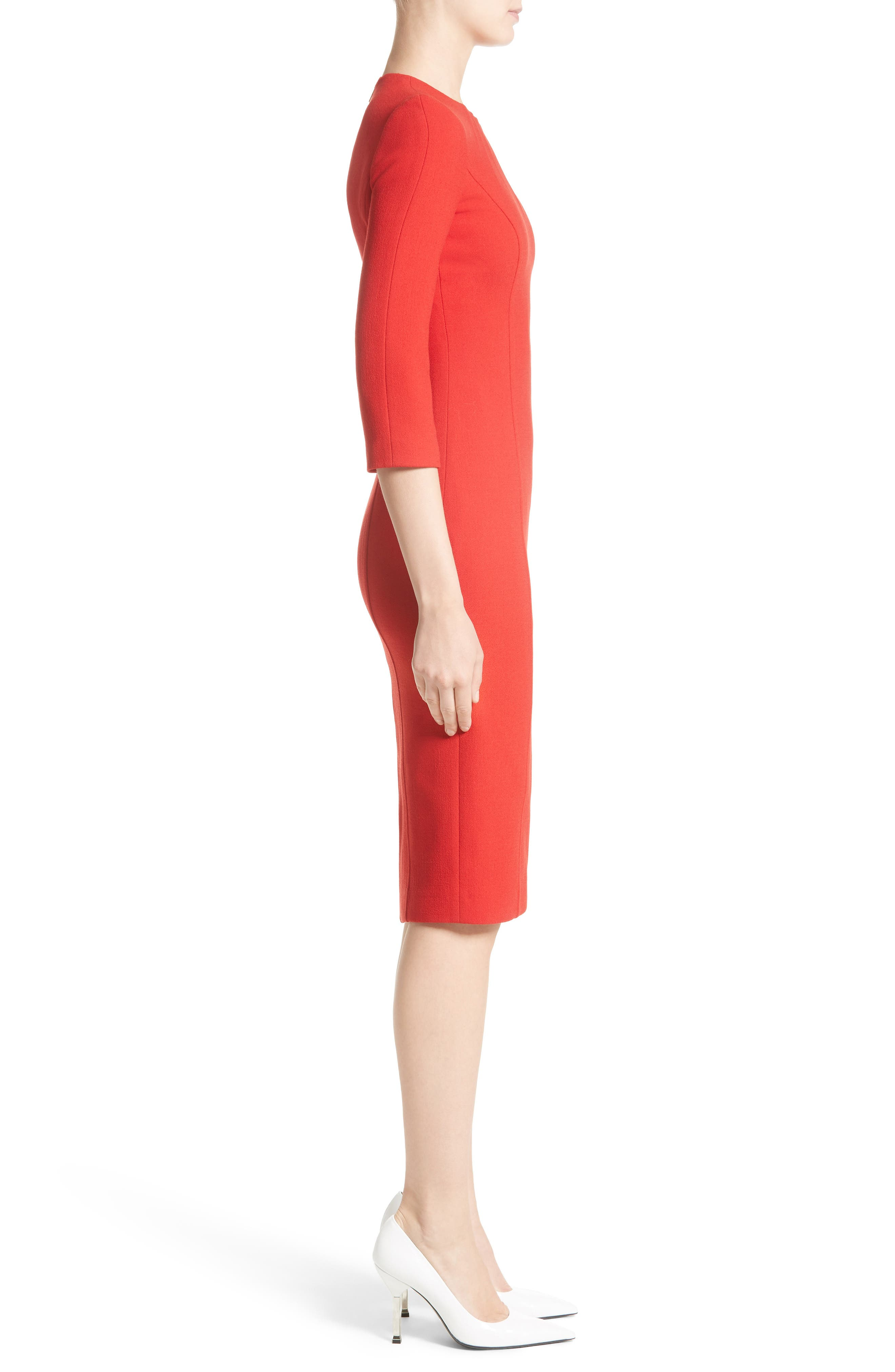 Stretch Wool Bouclé Sheath Dress,                             Alternate thumbnail 3, color,                             600
