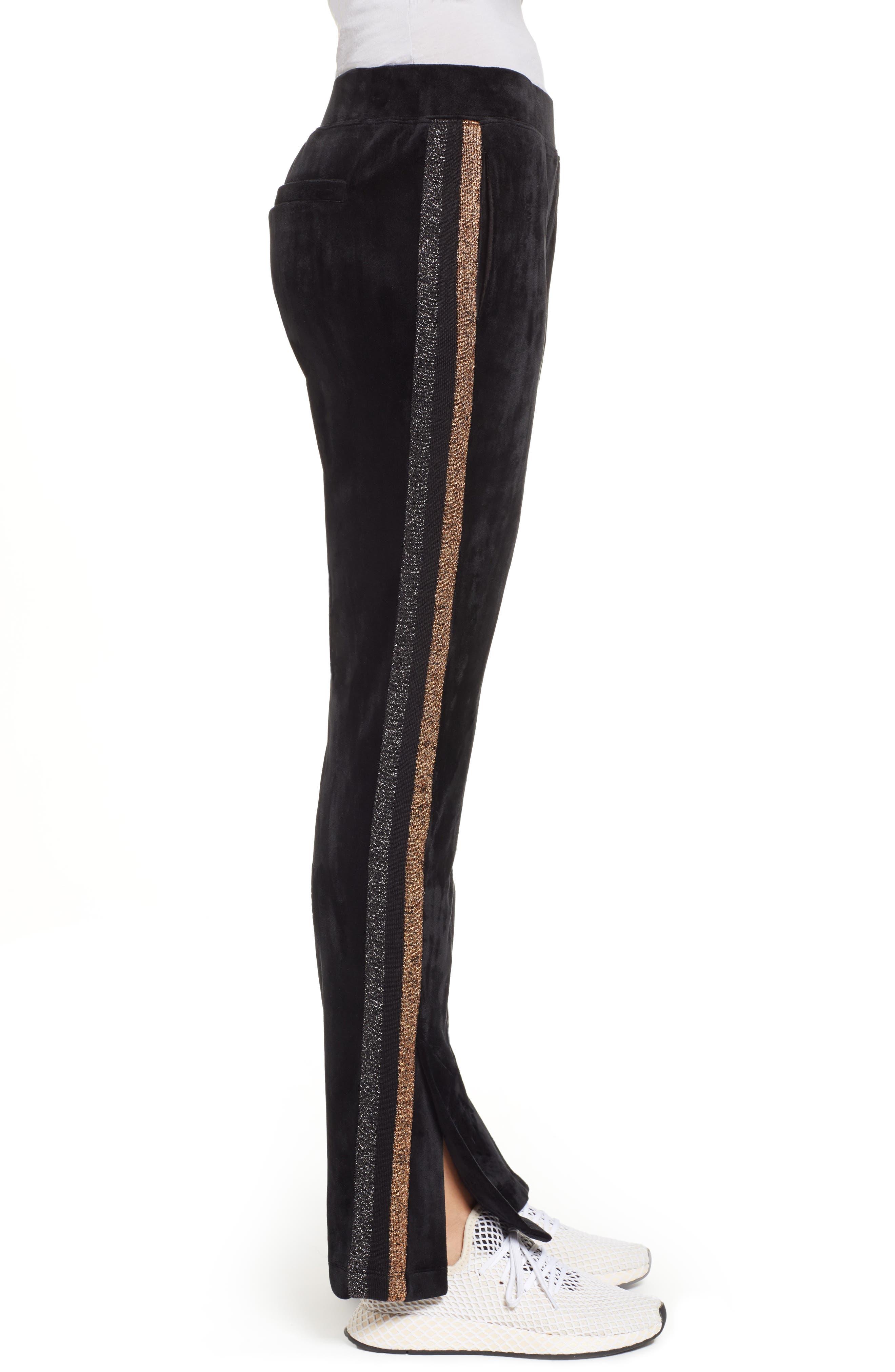 Shimmer Stripe Track Pants,                             Alternate thumbnail 3, color,                             001