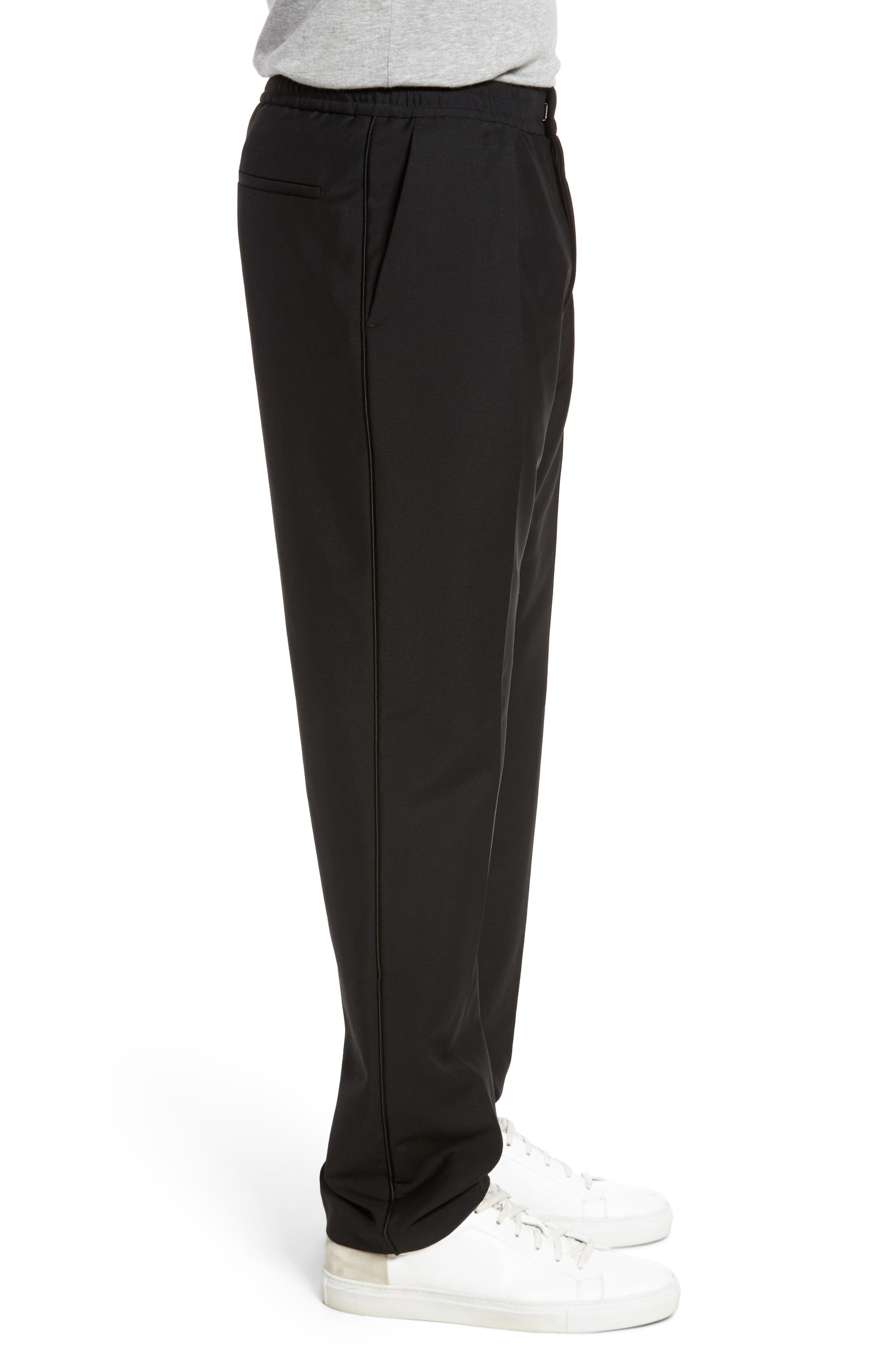 Payton Pleated Solid Wool & Mohair Jogger Trousers,                             Alternate thumbnail 3, color,                             001