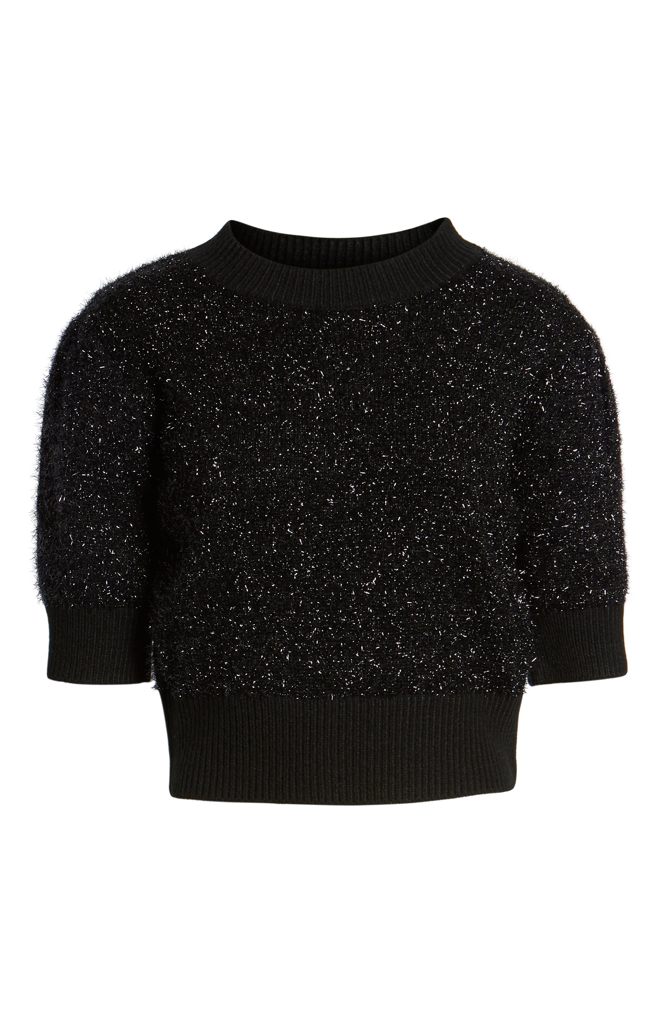 Sparkle Crop Sweater,                             Alternate thumbnail 6, color,                             001