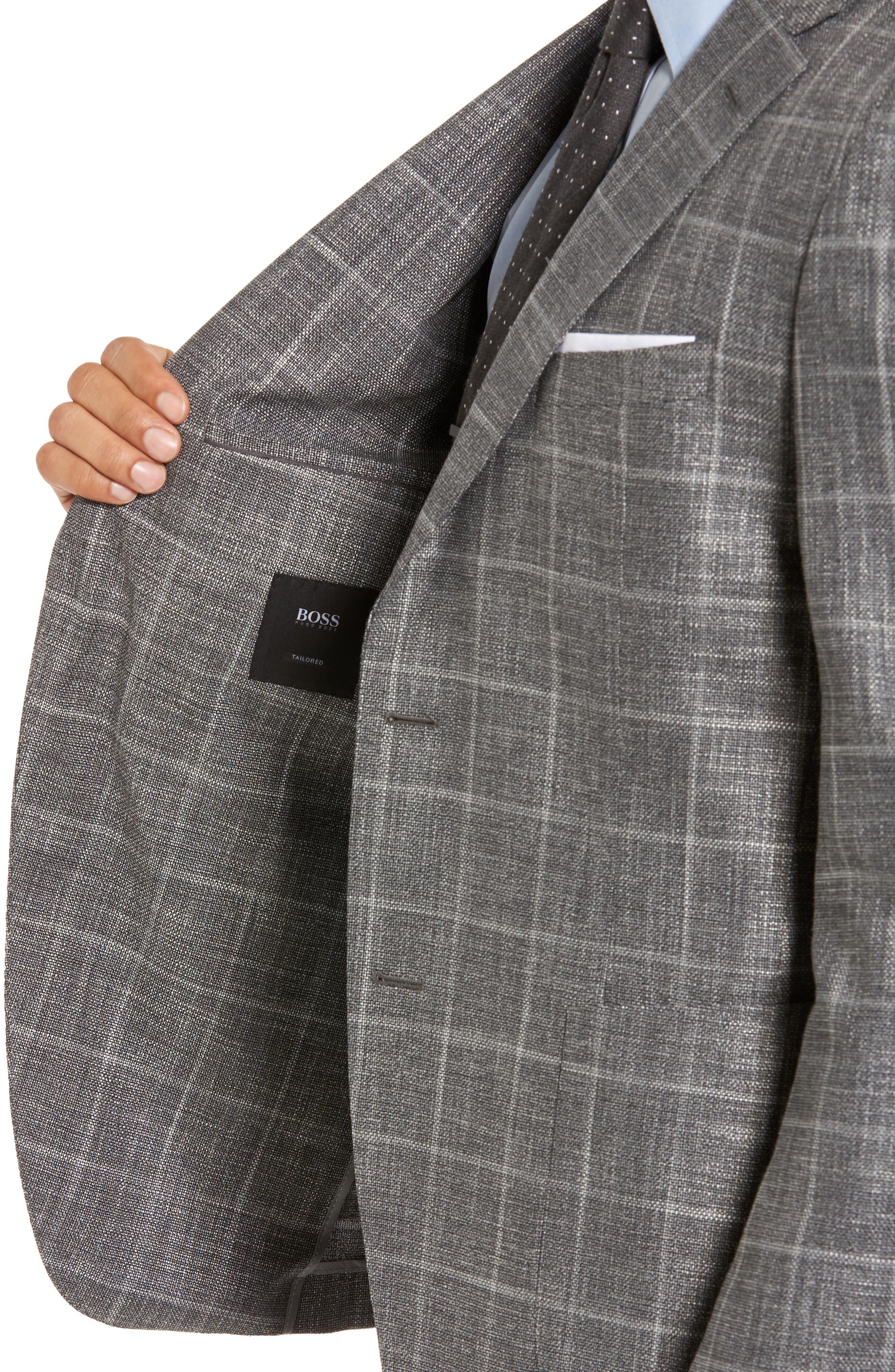 T-Naiden Trim Fit Windowpane Sport Coat,                             Alternate thumbnail 4, color,                             030