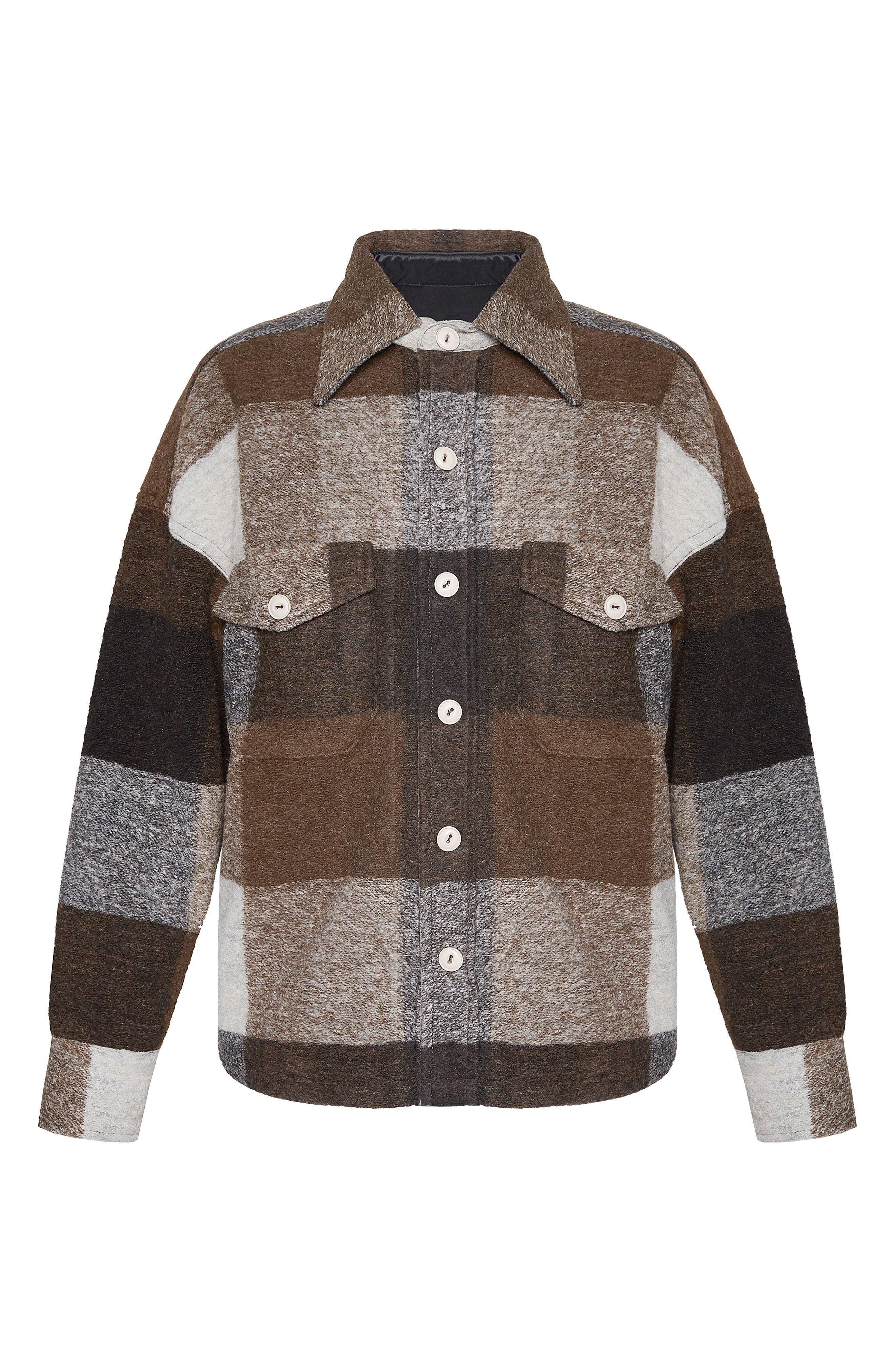 Bobbi Flannel Shirt Jacket,                             Alternate thumbnail 4, color,                             BROWN